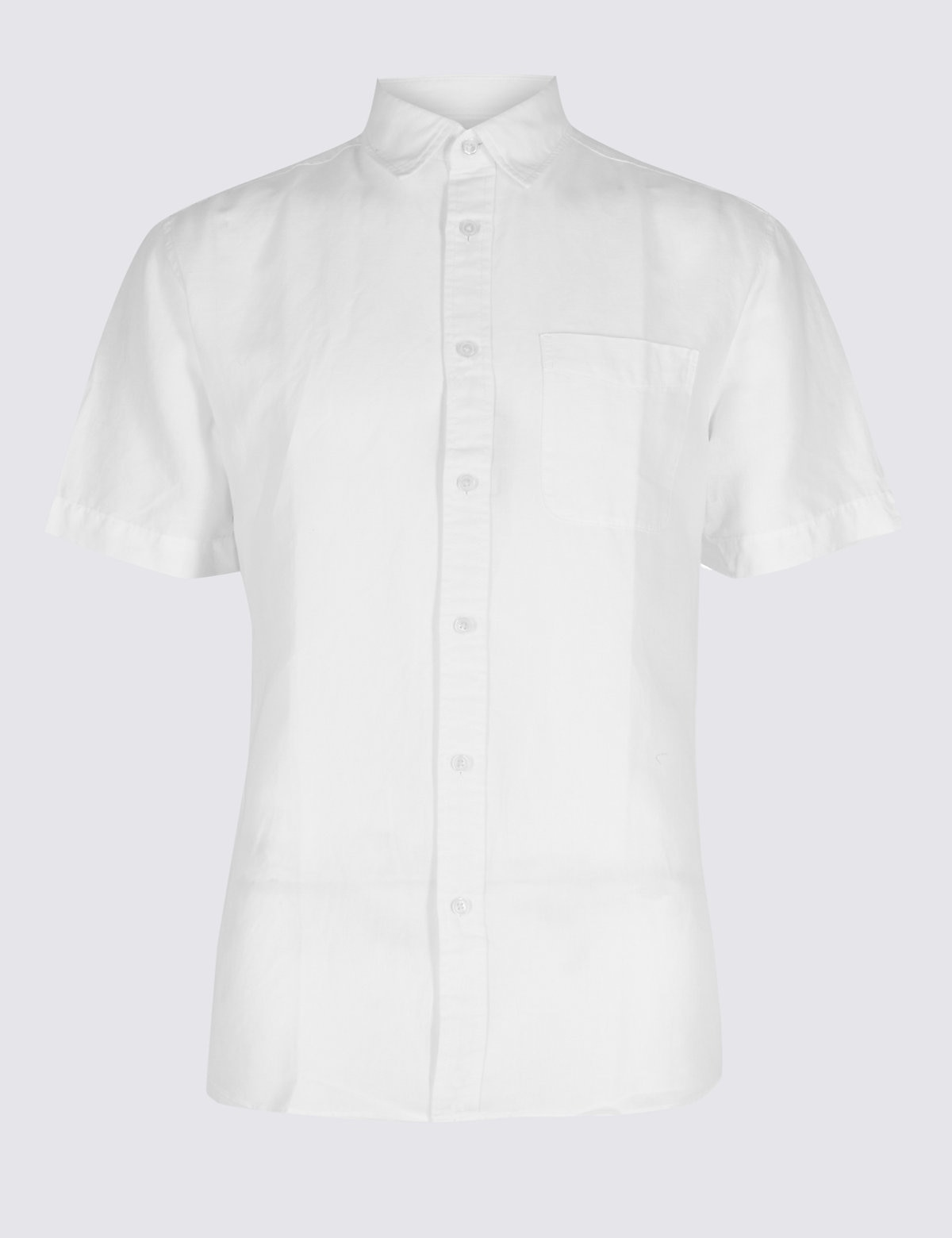 Marks & Spencer White Linen Rich Slim Fit Shirt with Pocket
