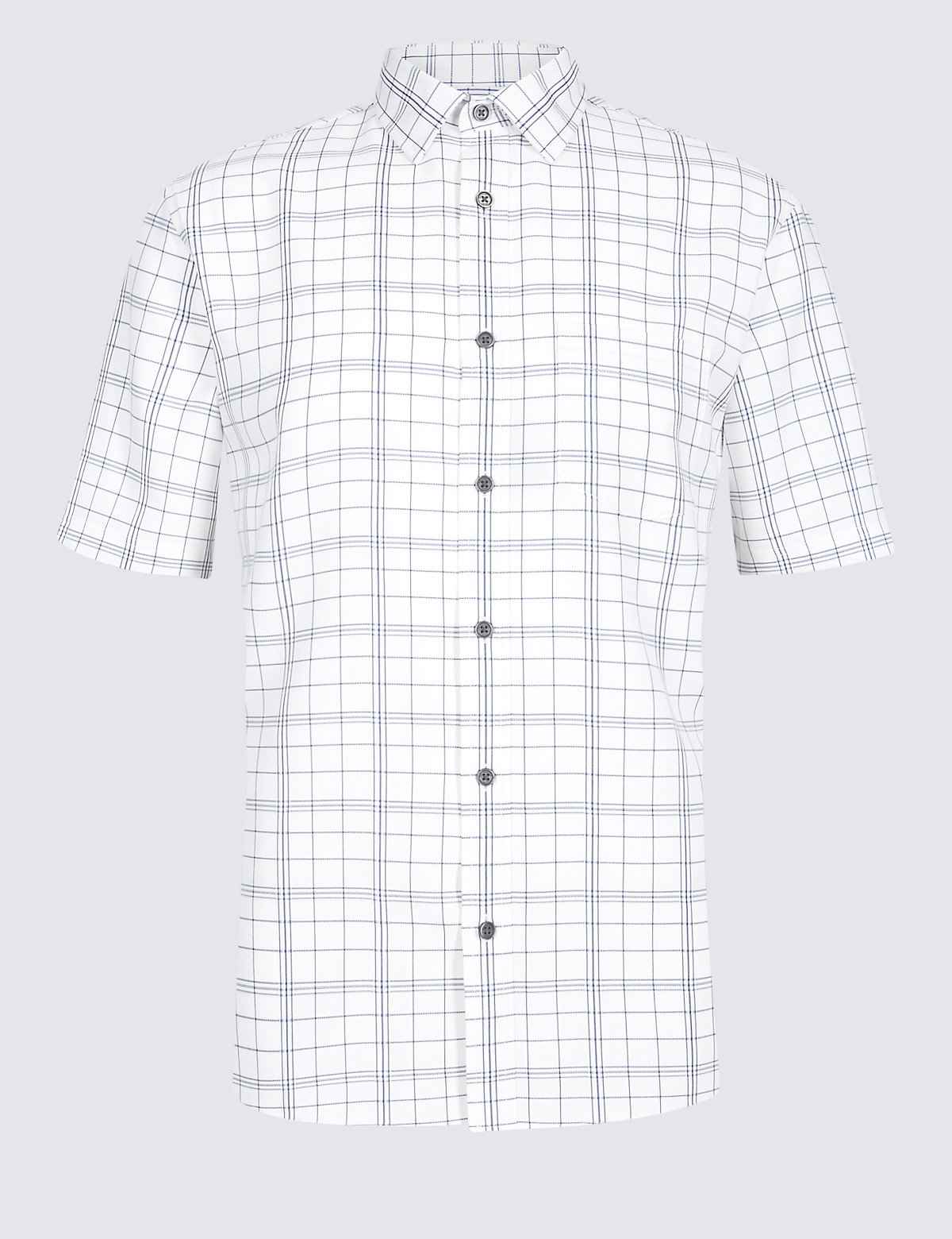 Marks & Spencer White Modal Blend Checked Shirt with Pocket