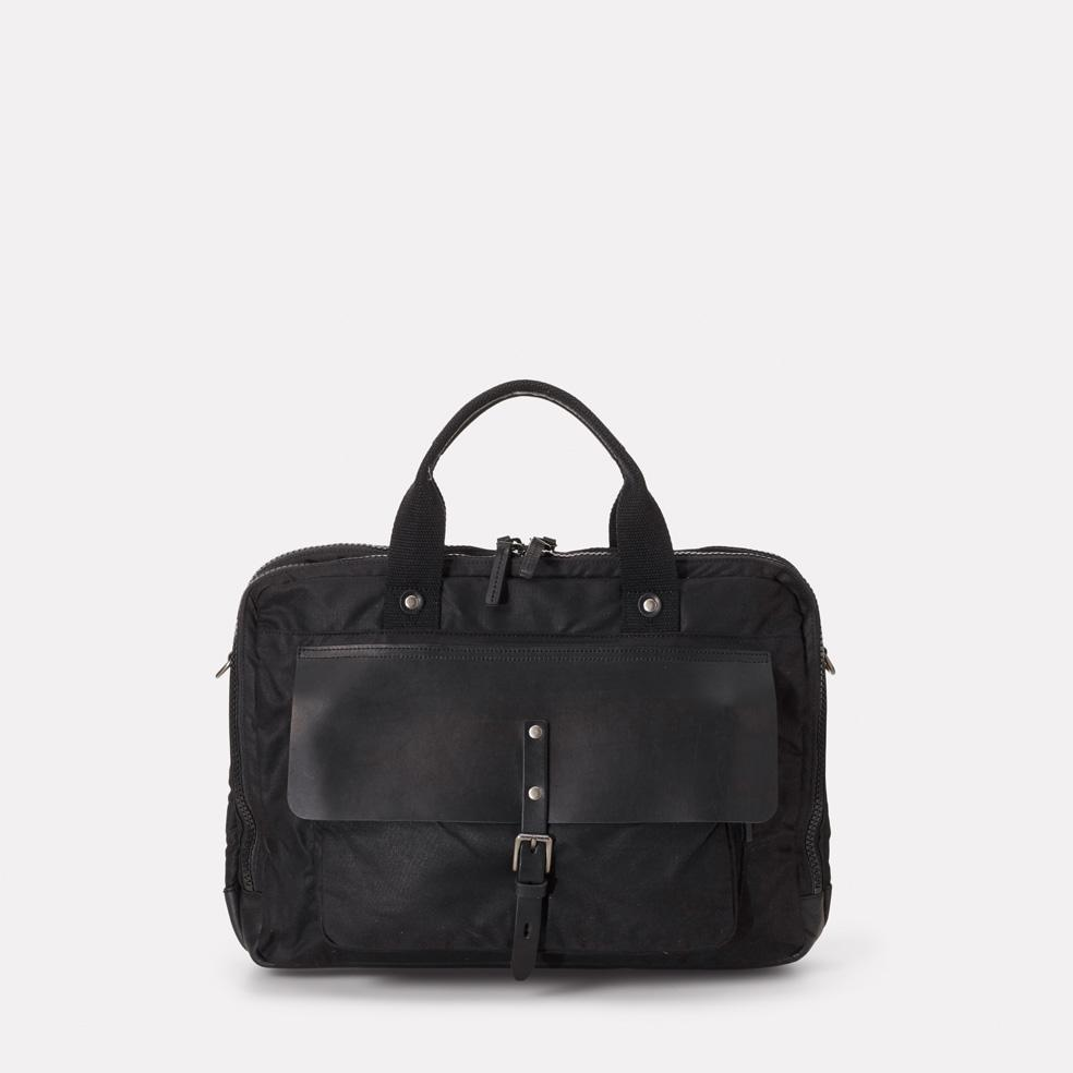 Ally Capellino iSaac Leather & Waxed Cotton Briefcase in Black