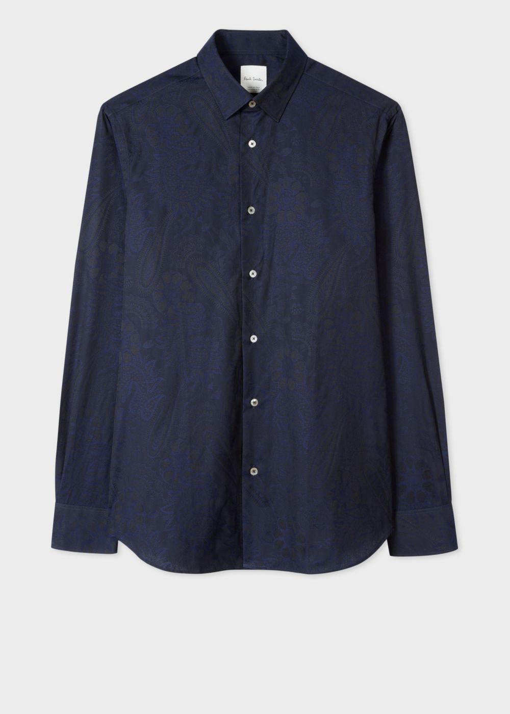 Paul Smith Men's Tailored-Fit Navy Paisley Jacquard Shirt