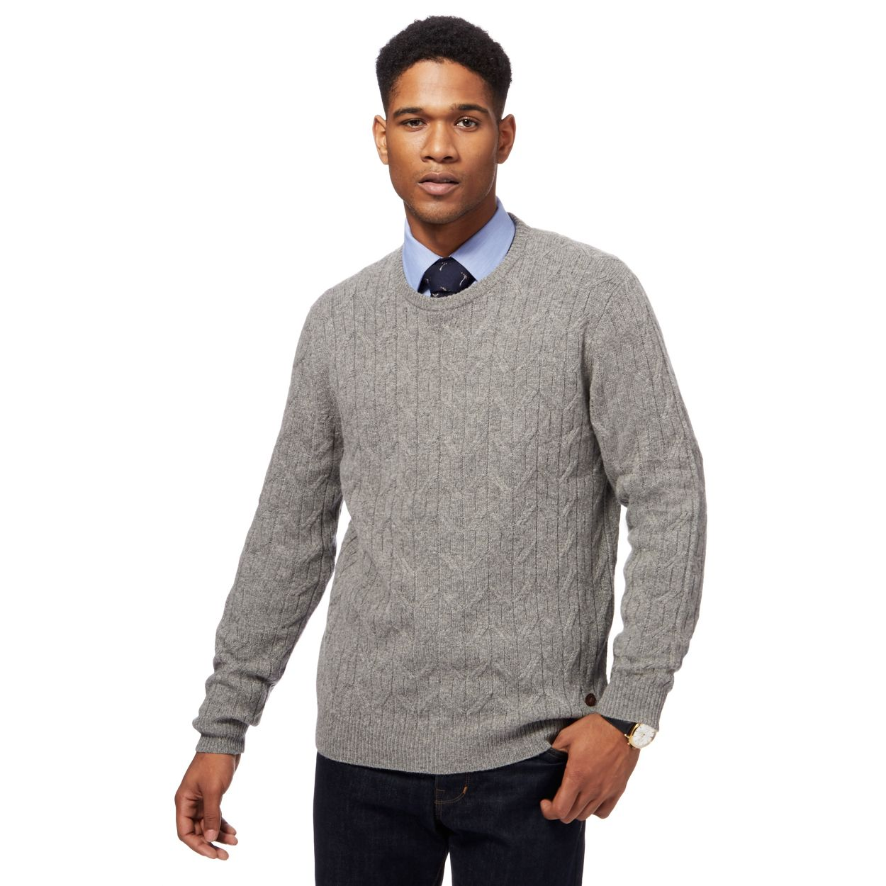 Hammond & Co. by Patrick Grant Light grey cable knit jumper