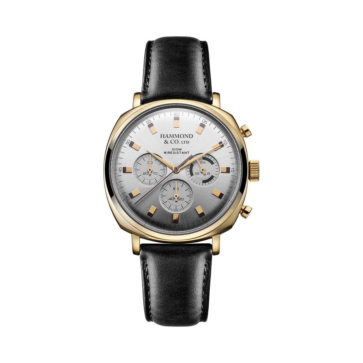 Hammond & Co. by Patrick Grant Men's square chronograph watch with black leather strap