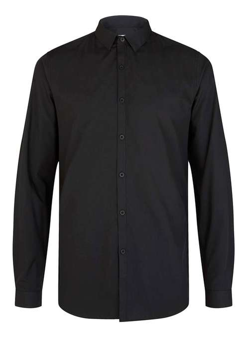 Topman Black slim fit smart shirt