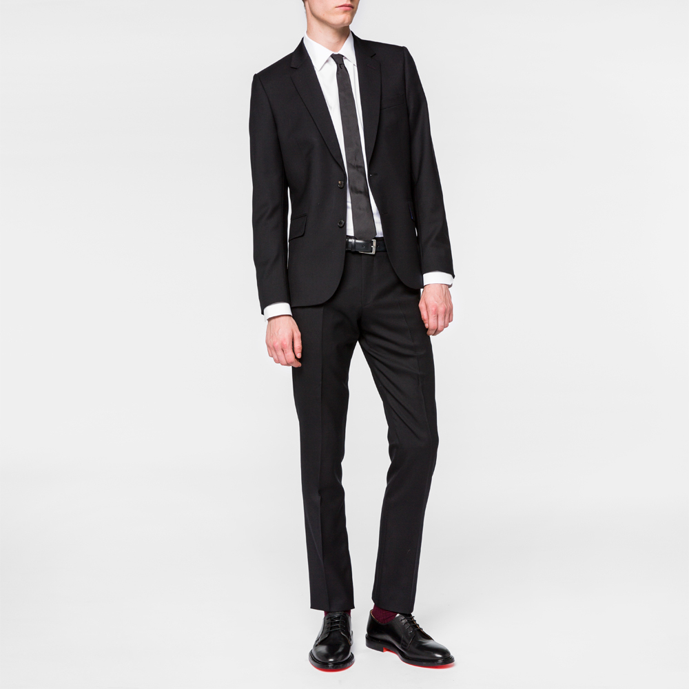Paul Smith The Soho - Men's Tailored-Fit Black Wool 'Suit To Travel In'