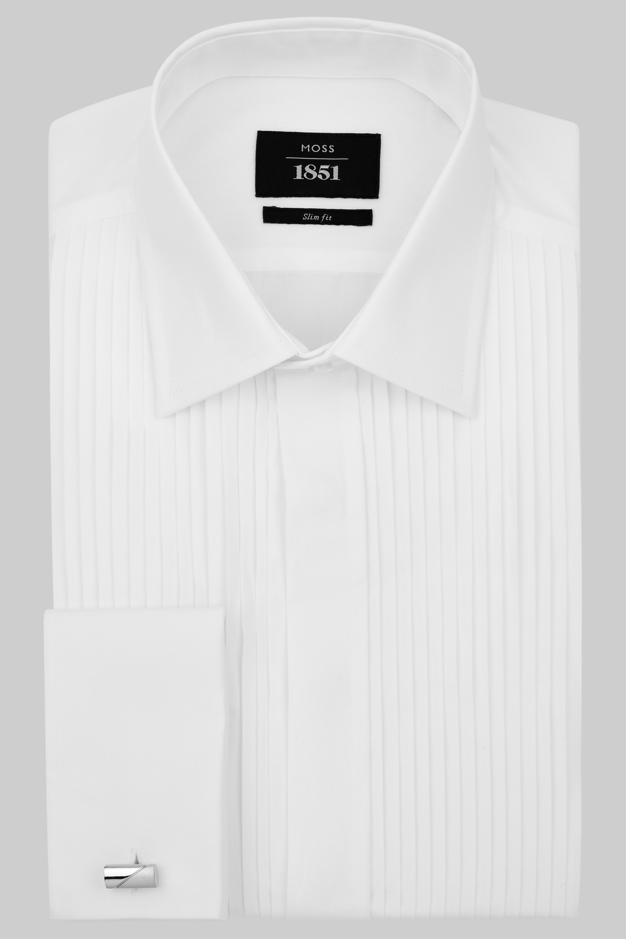 Moss Bros Moss 1851 Slim Fit Classic Collar Pleated White Dress Shirt