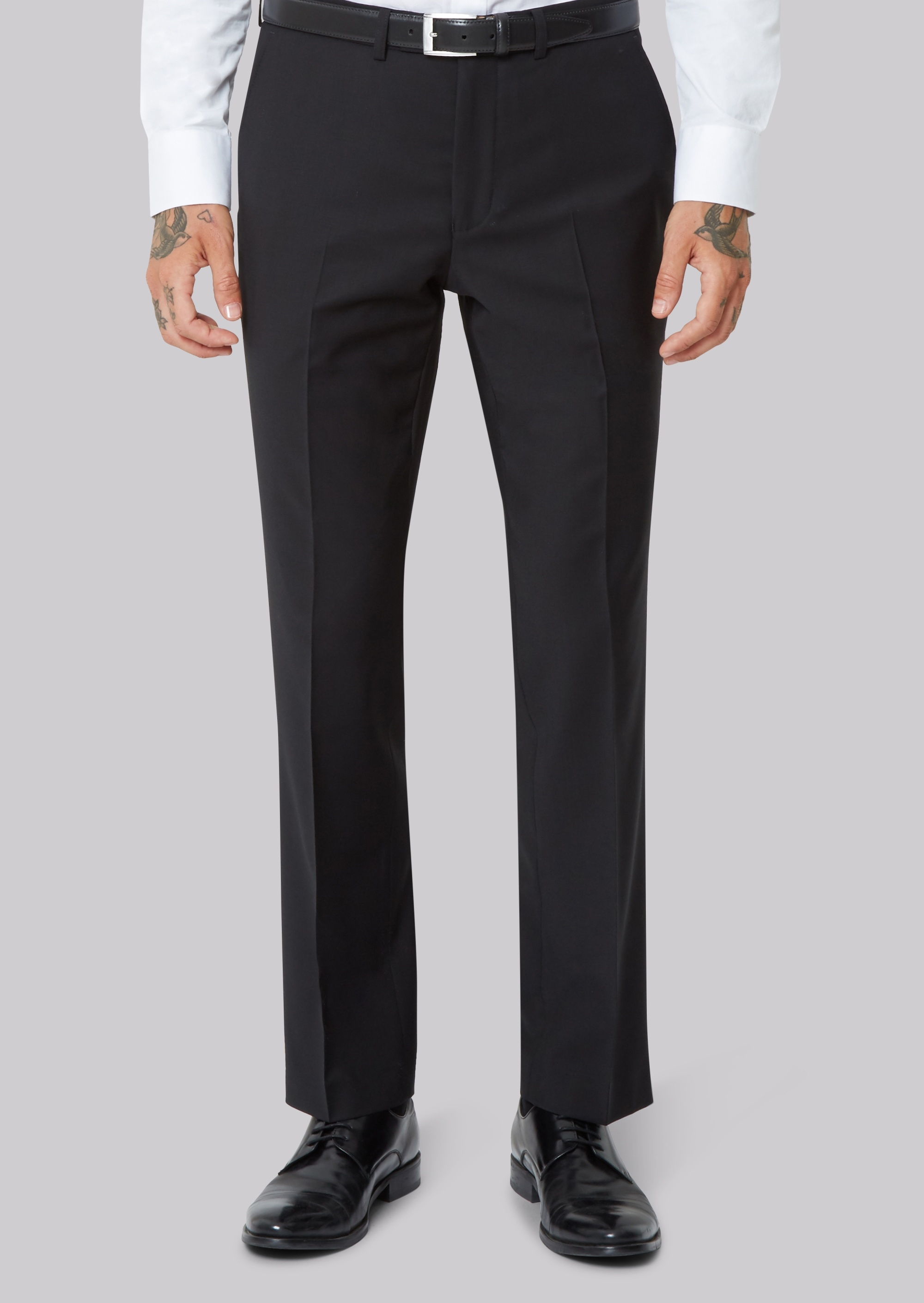 Moss Bros Moss 1851 Performance Tailored Fit Black Trousers