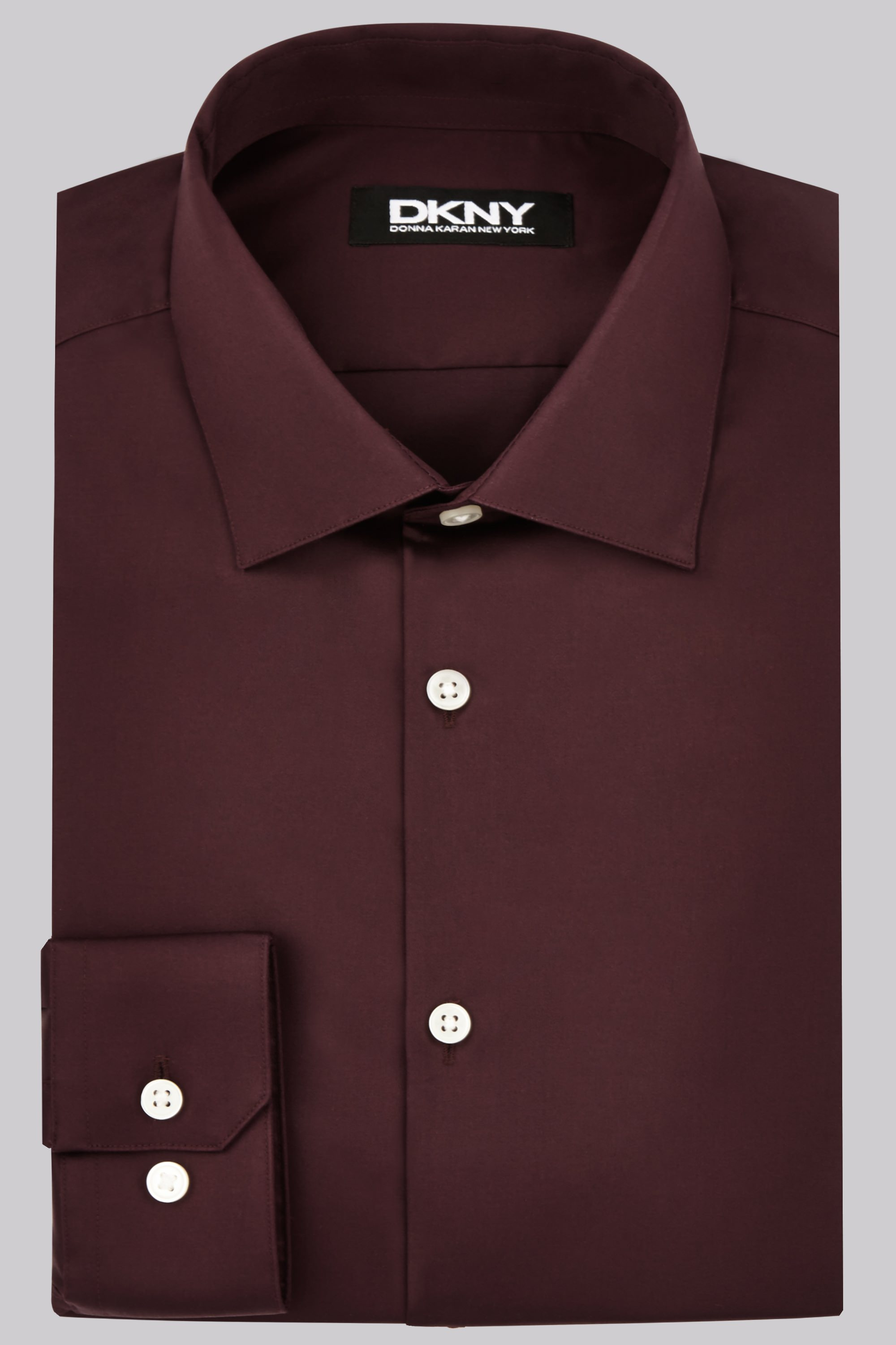 Moss Bros DKNY Slim Fit Burgundy Single Cuff Sateen Shirt