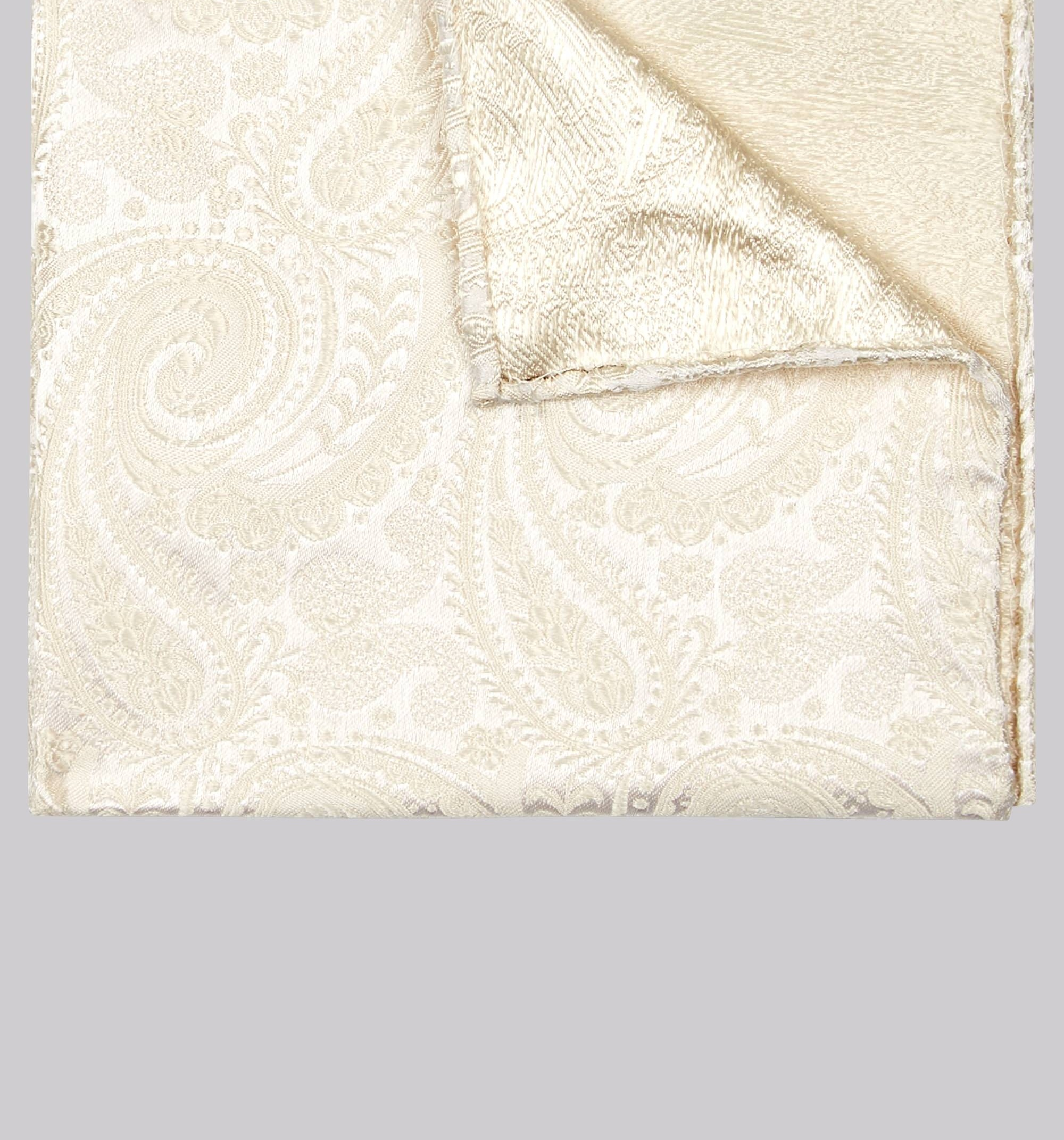 Moss Bros Moss 1851 Cream Paisley Silk Pocket Square