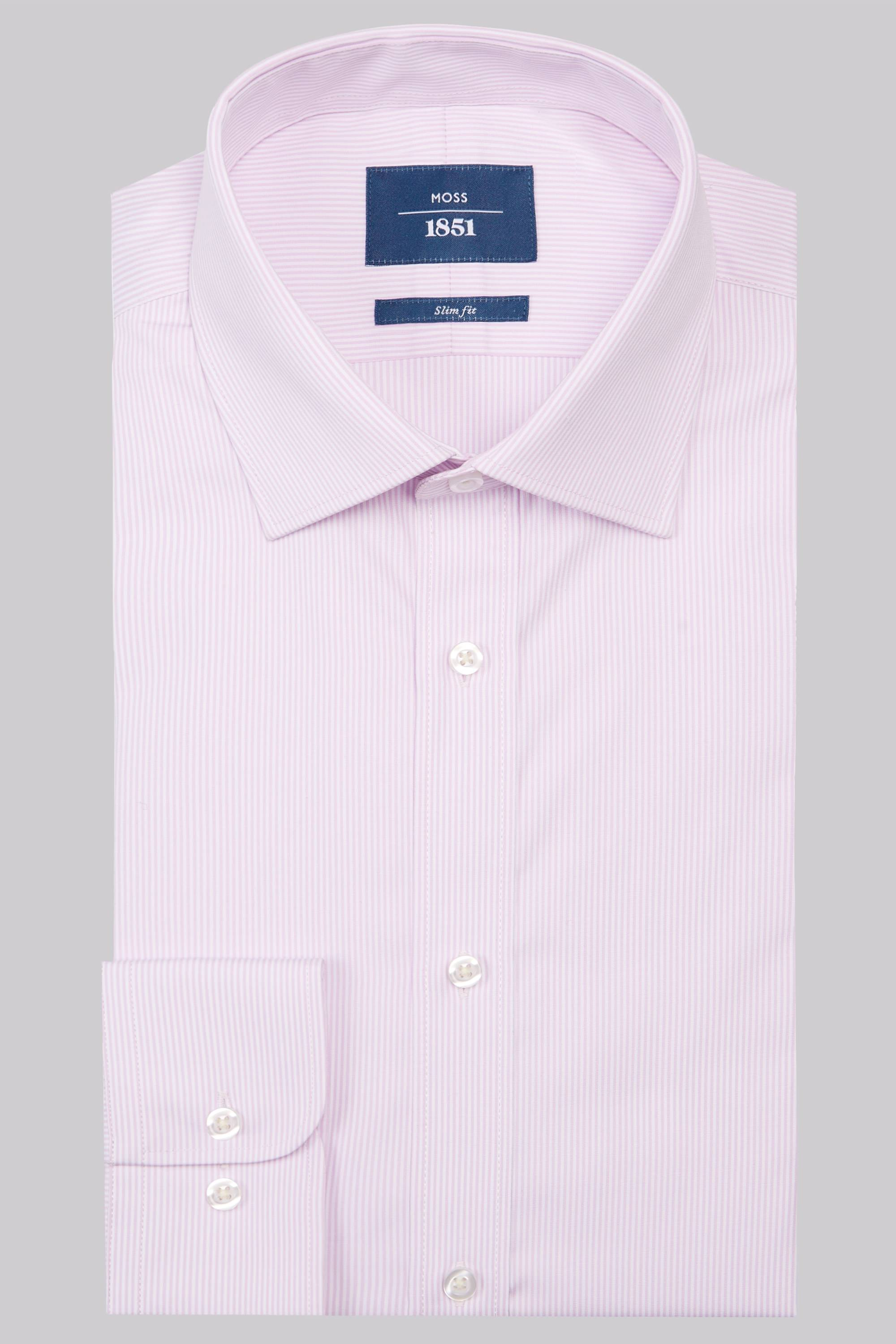 Moss Bros Moss 1851 Slim Fit Pink Single Cuff Skinny Stripe Shirt