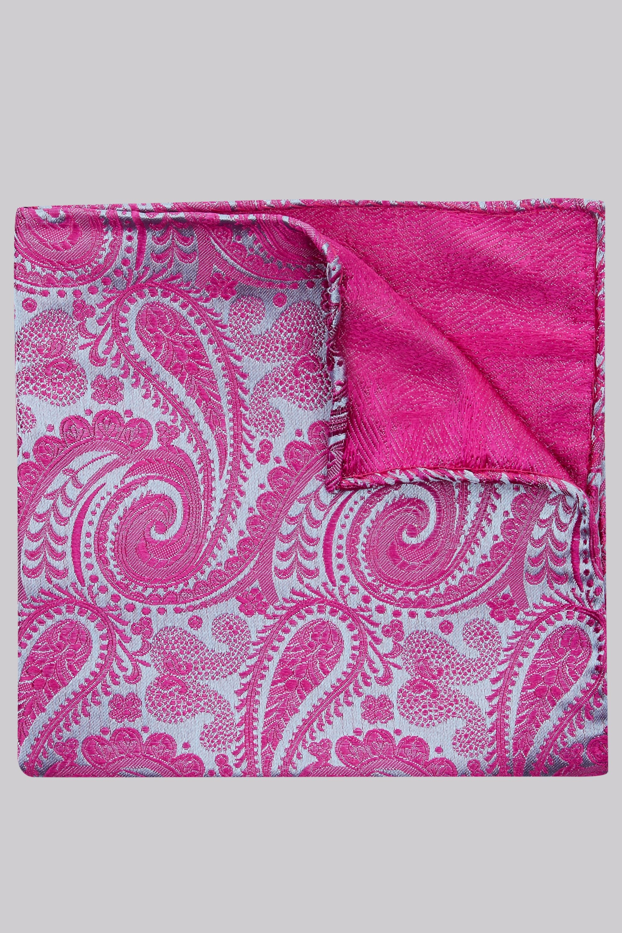 Moss Bros Moss 1851 Pink and Blue Paisley Silk Pocket Square