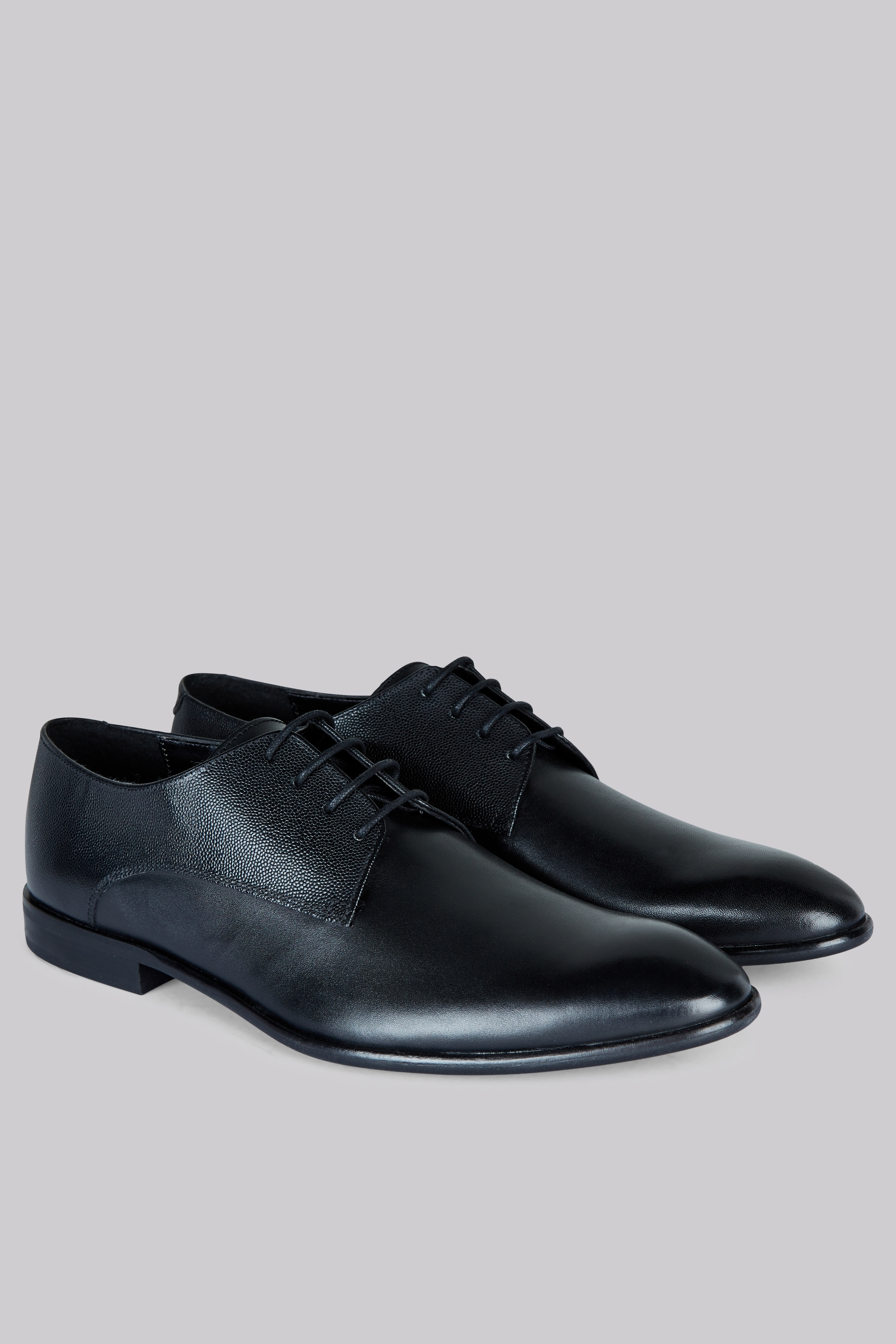 Moss Bros Moss London Grayes Black Textured Shoes
