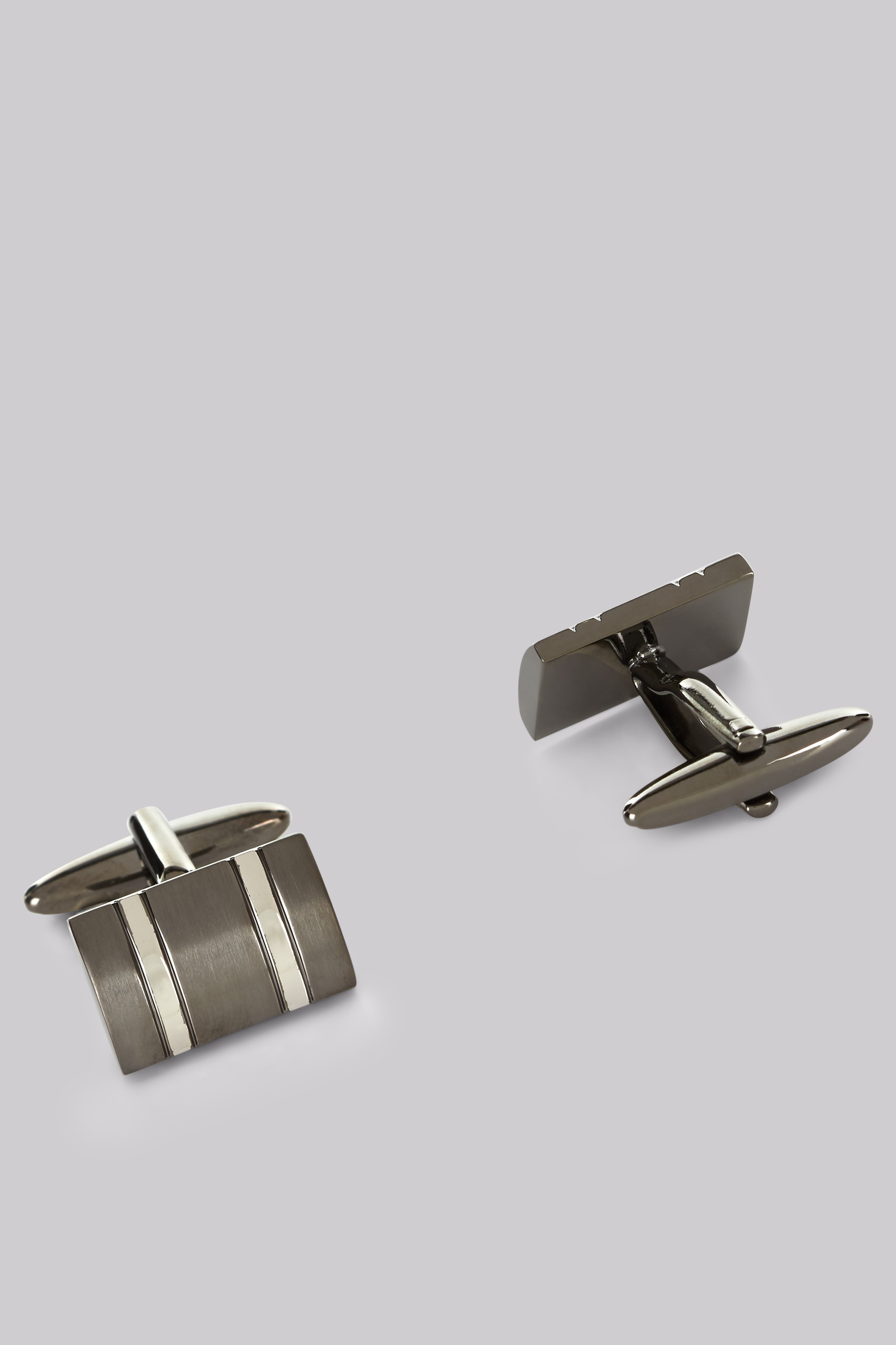 Moss Bros Moss 1851 Silver and Gunmetal TwoTone Rectangle Cufflink