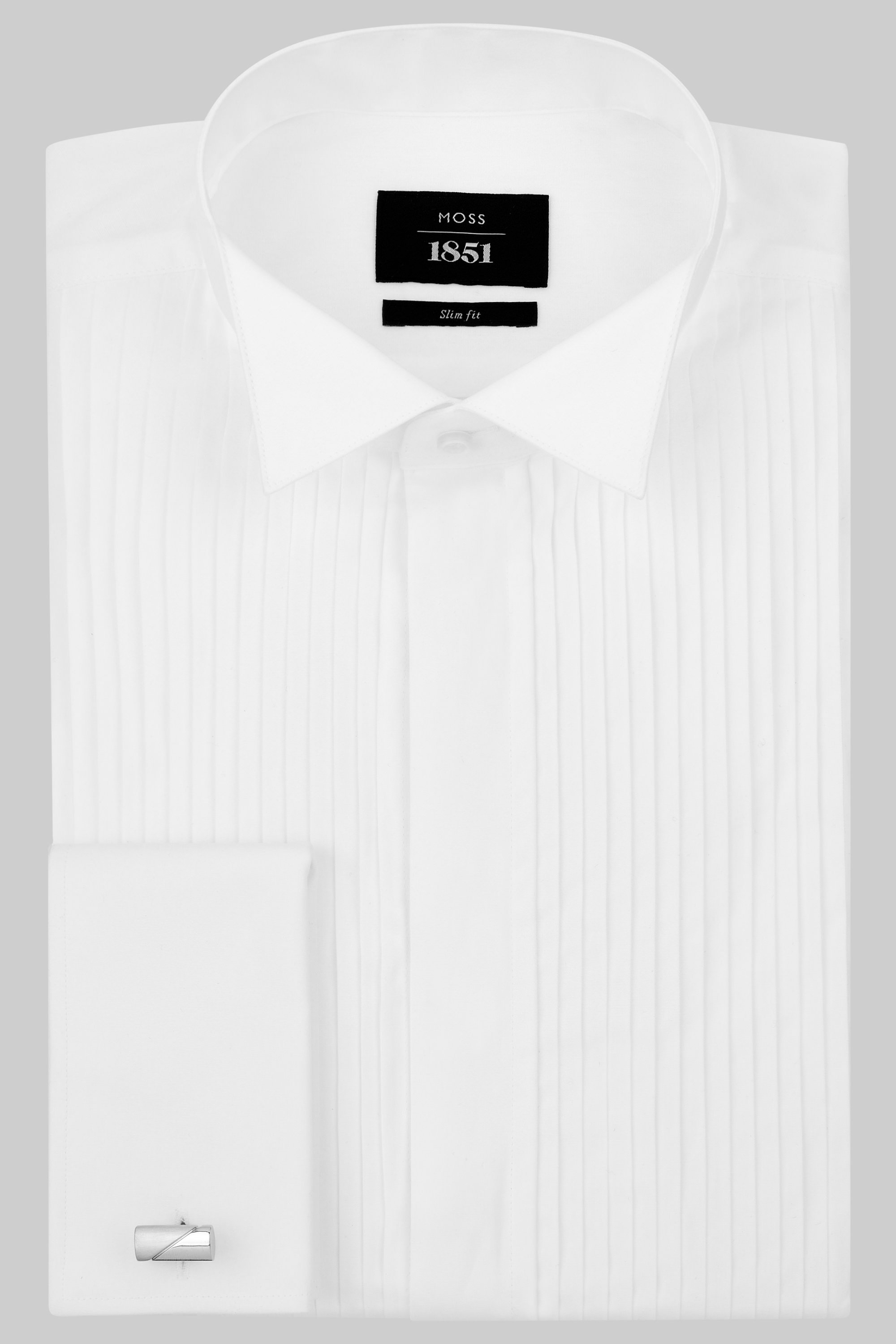 Moss Bros Moss 1851 Slim Fit Wing Collar Pleated White Dress Shirt
