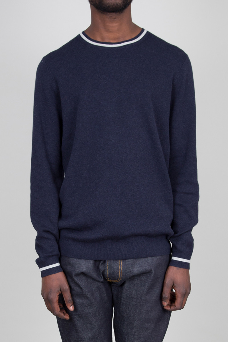 Folk x Liberty Cotton Crew Neck - Navy