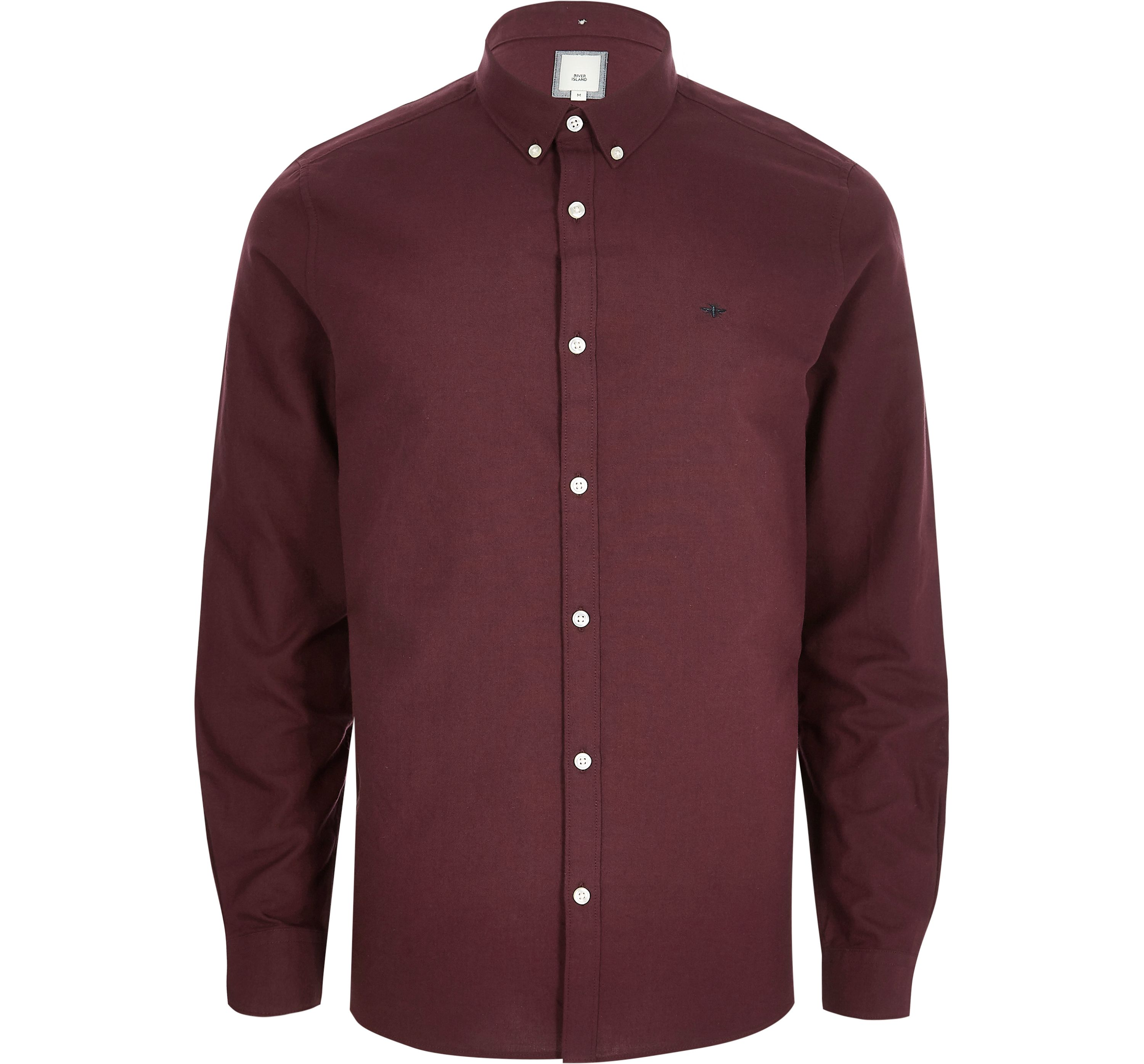 River Island Mens Burgundy chest embroidered Oxford shirt