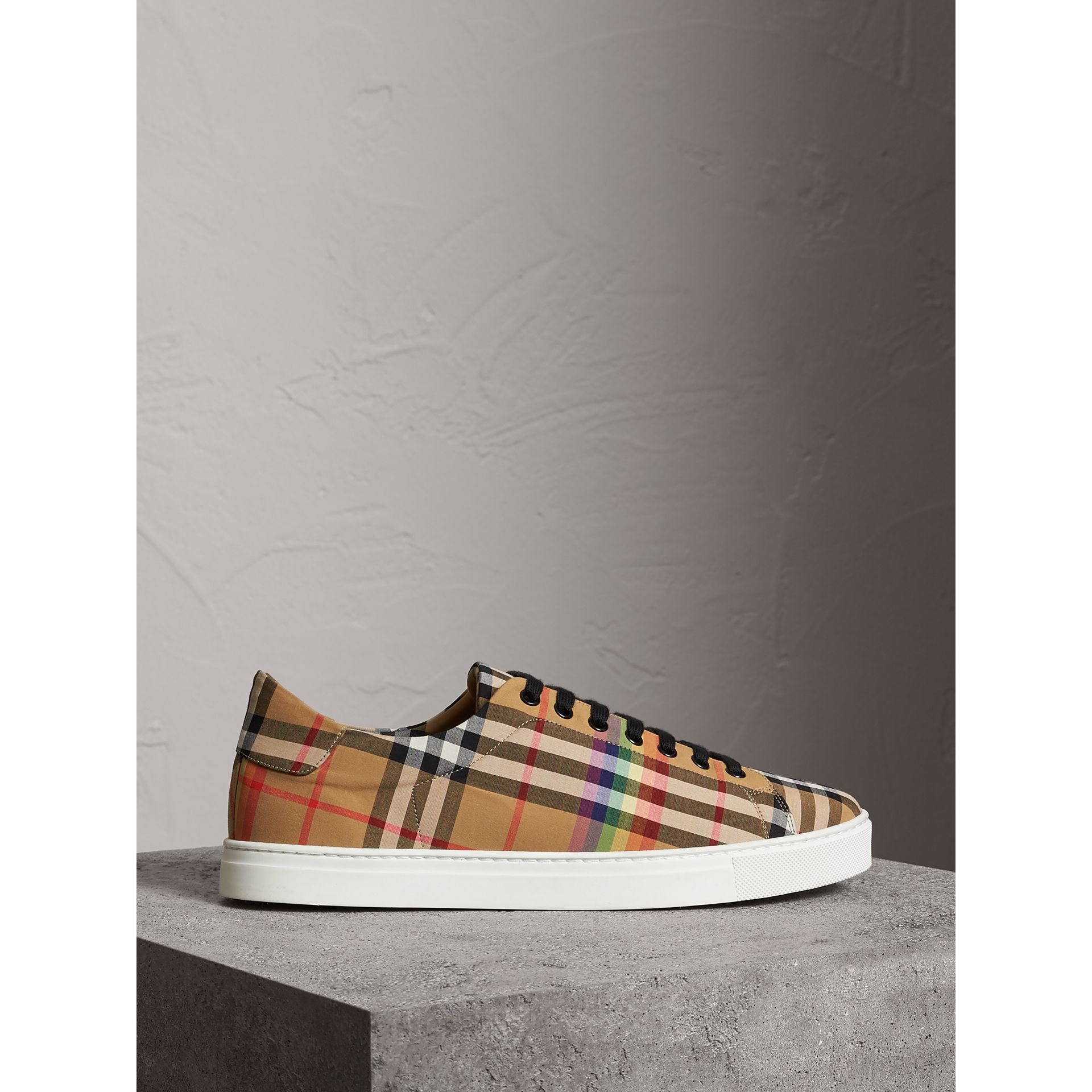 Burberry Antique Yellow Rainbow Vintage Check Sneakers