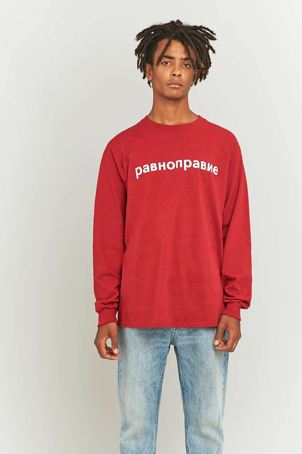 Urban Outfitters UO Equality Russian Text Red Long Sleeve T-shirt