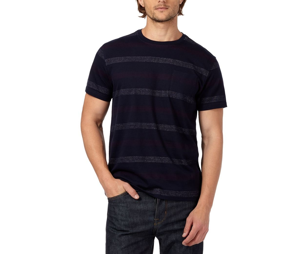 Hammond & Co. by Patrick Grant Navy textured striped t-shirt