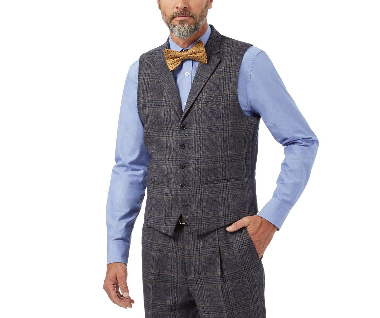 Hammond & Co. by Patrick Grant Navy checked tailored waistcoat with wool