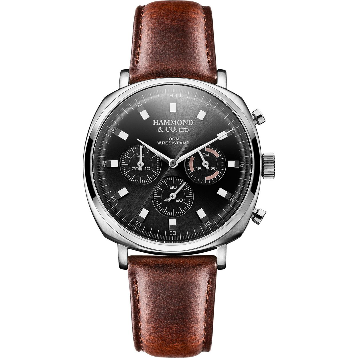 Hammond & Co. by Patrick Grant Men's square chronograph watch with brown leather strap