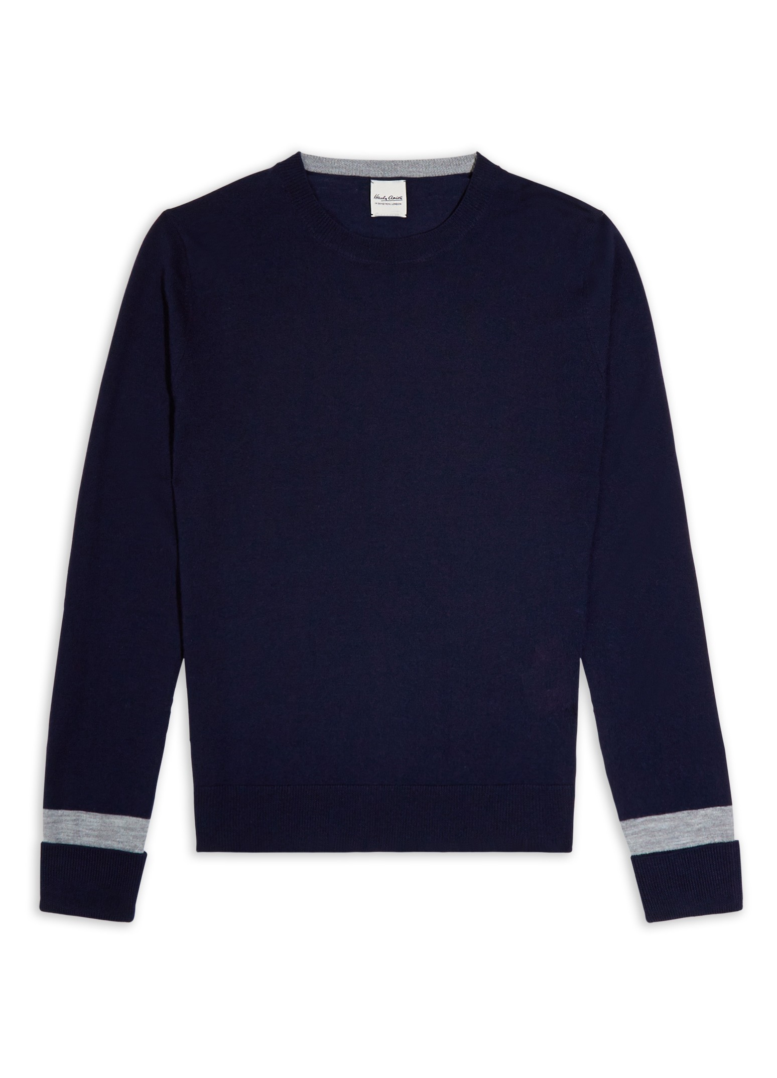 Hardy Amies NAVY KNIT GREY SLEEVE JUMPER Merino Wool