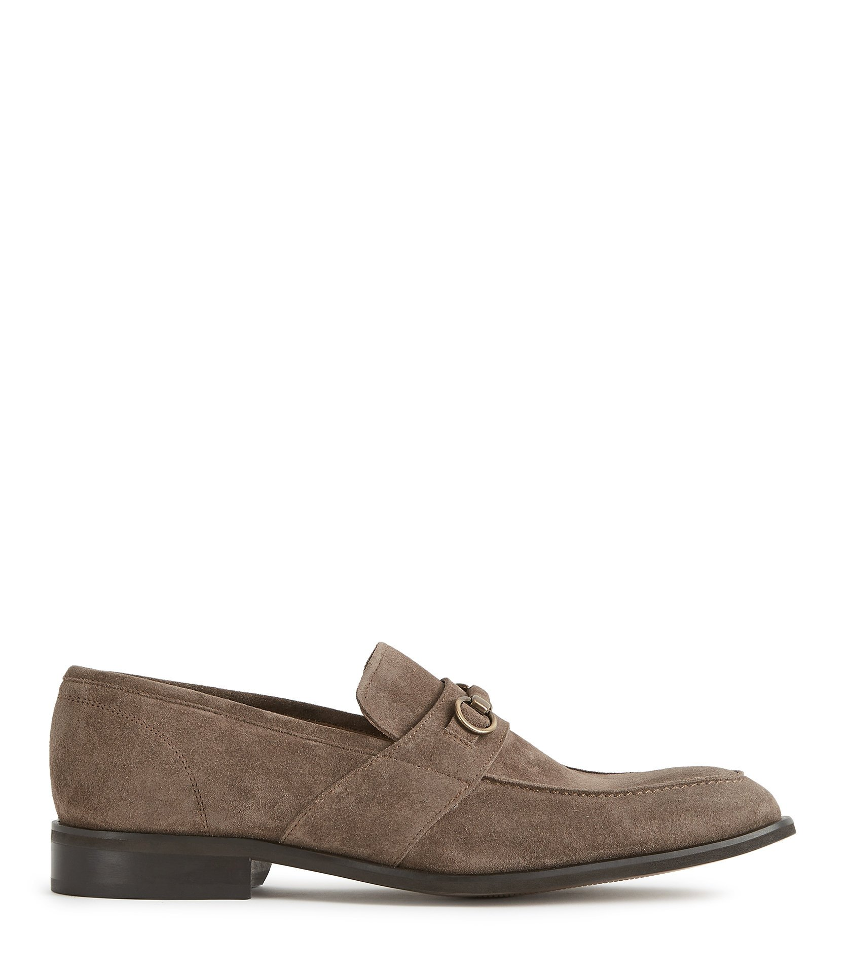 Reiss Taupe Simon Suede Horsebit Buckle Loafers