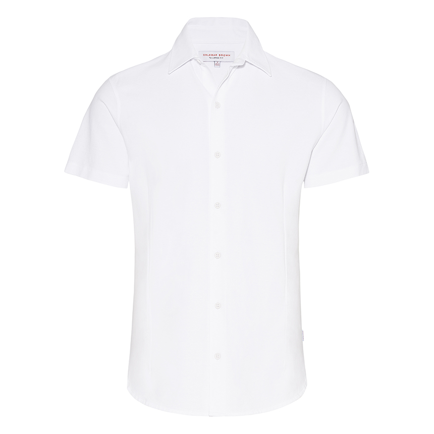 Orlebar Brown MORTON PIQUE White Pique Tailored-Fit Shirt