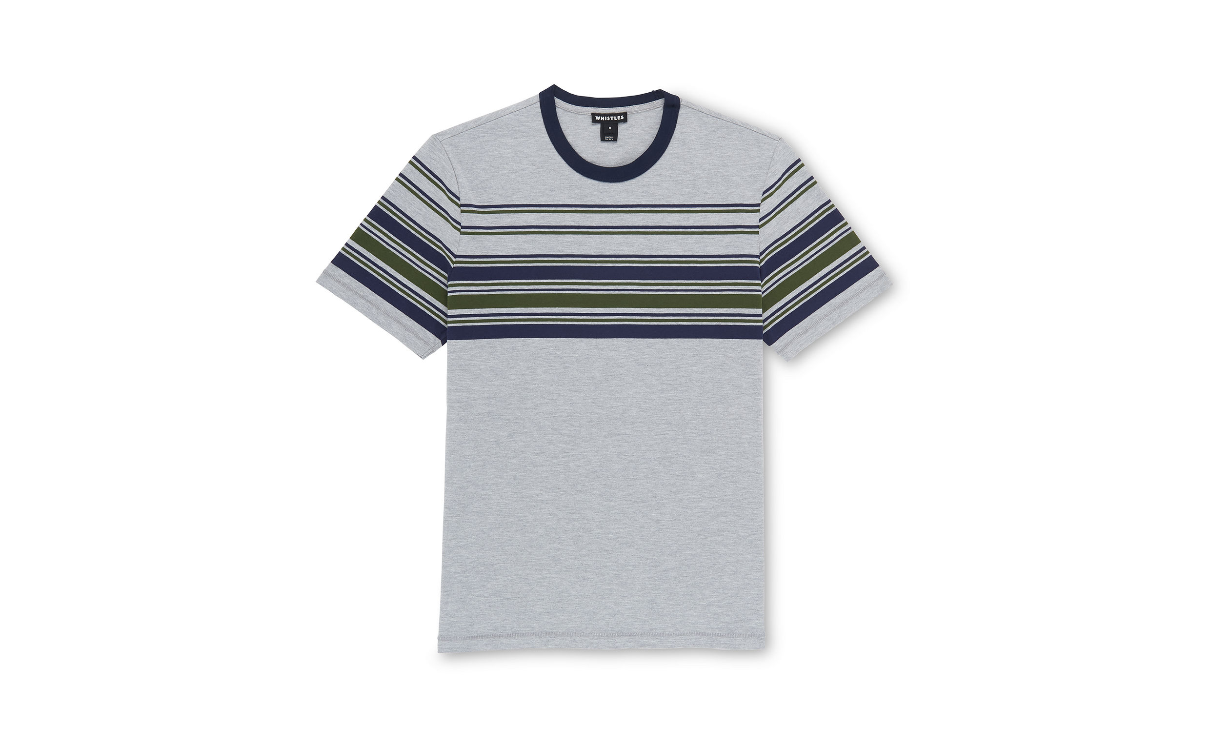 Whistles Grey Marl Placement stripe t-shirt