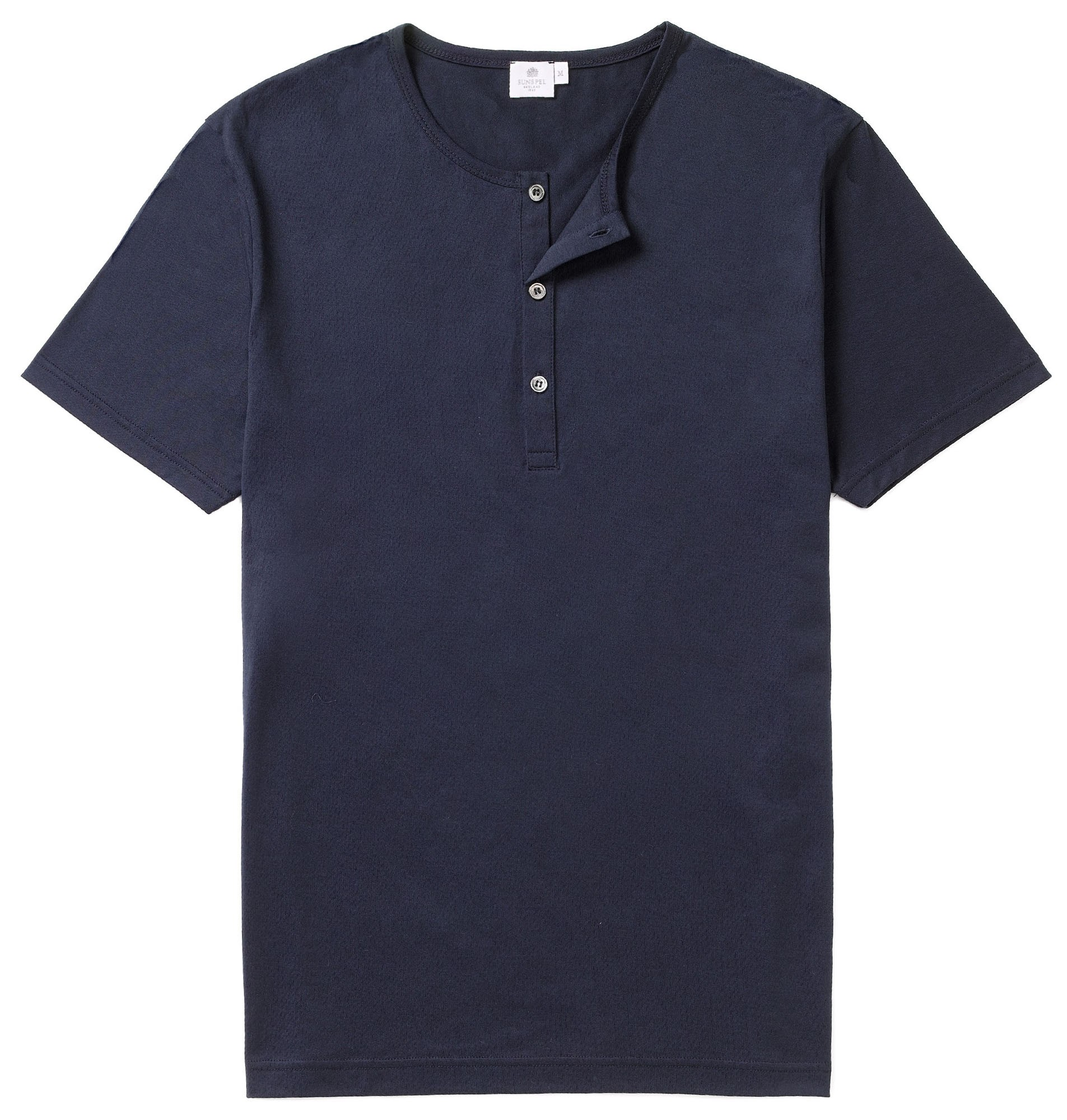 Sunspel Navy Men's Cotton Henley T-Shirt