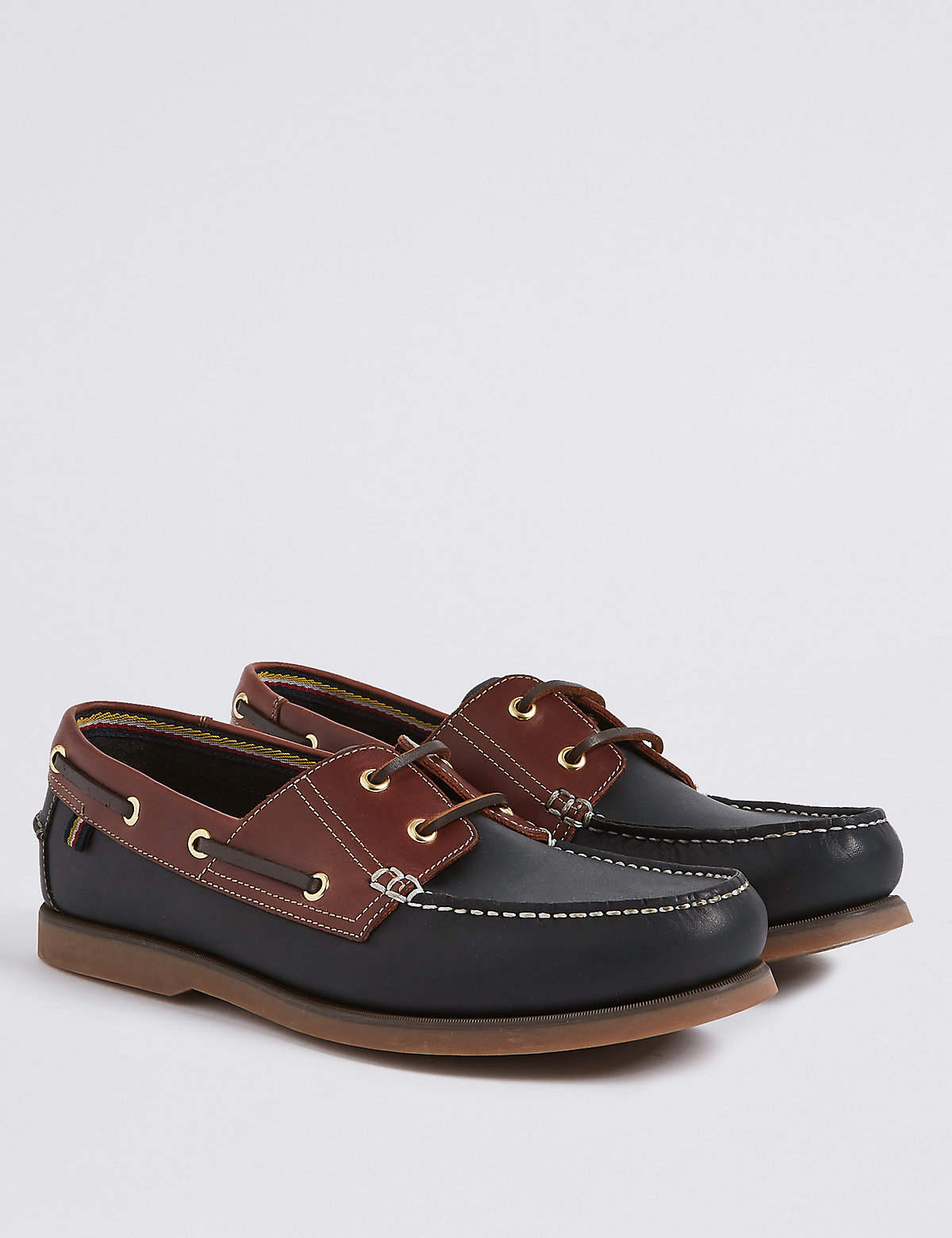 Marks & Spencer Navy Mix Big & Tall Leather Lace-up Boat Shoes