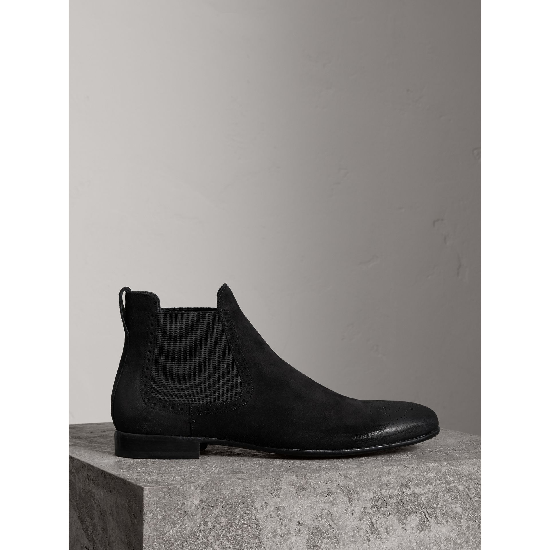 Burberry Black Brogue Detail Suede Chelsea Boots