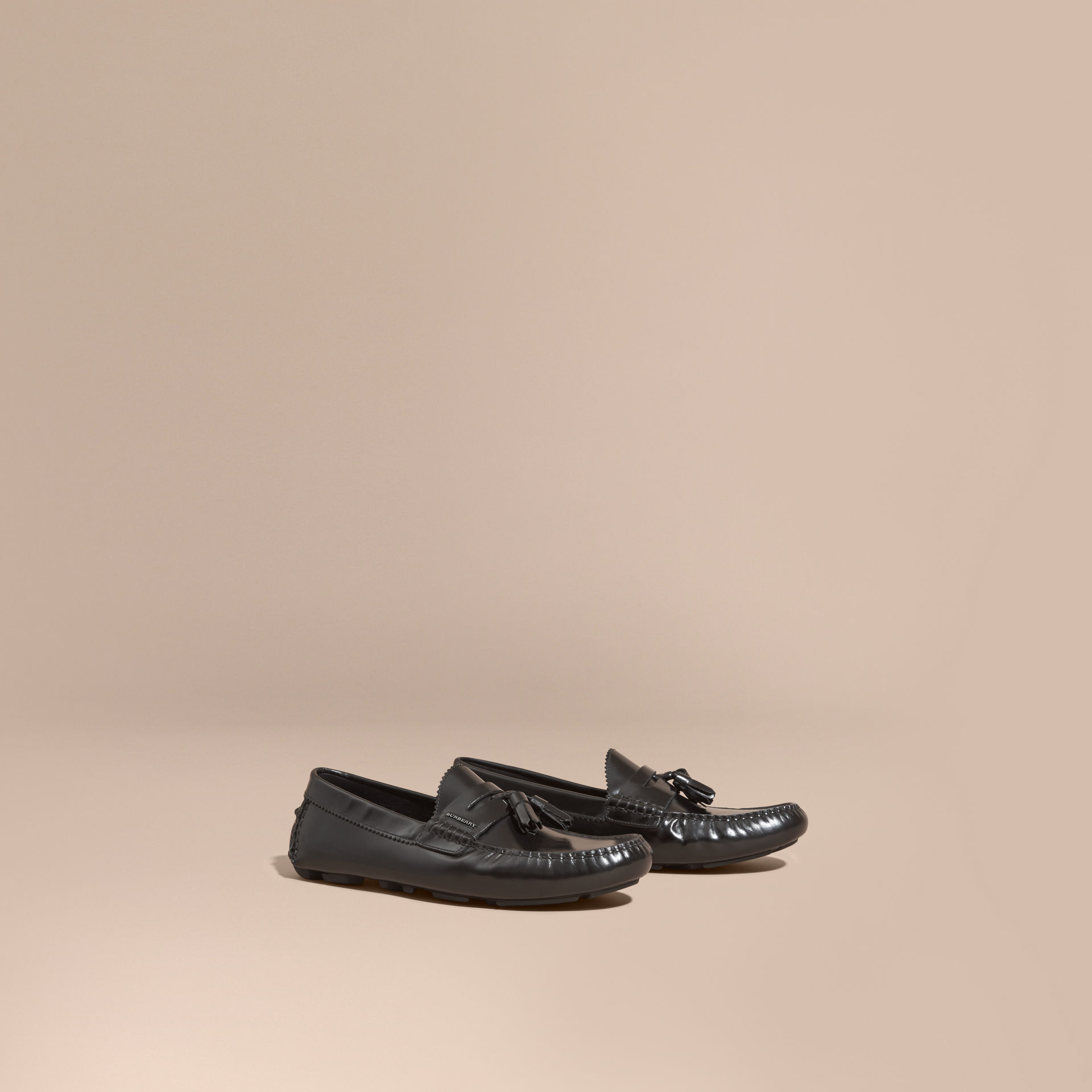 Burberry Black Tasselled Polished Leather Loafers