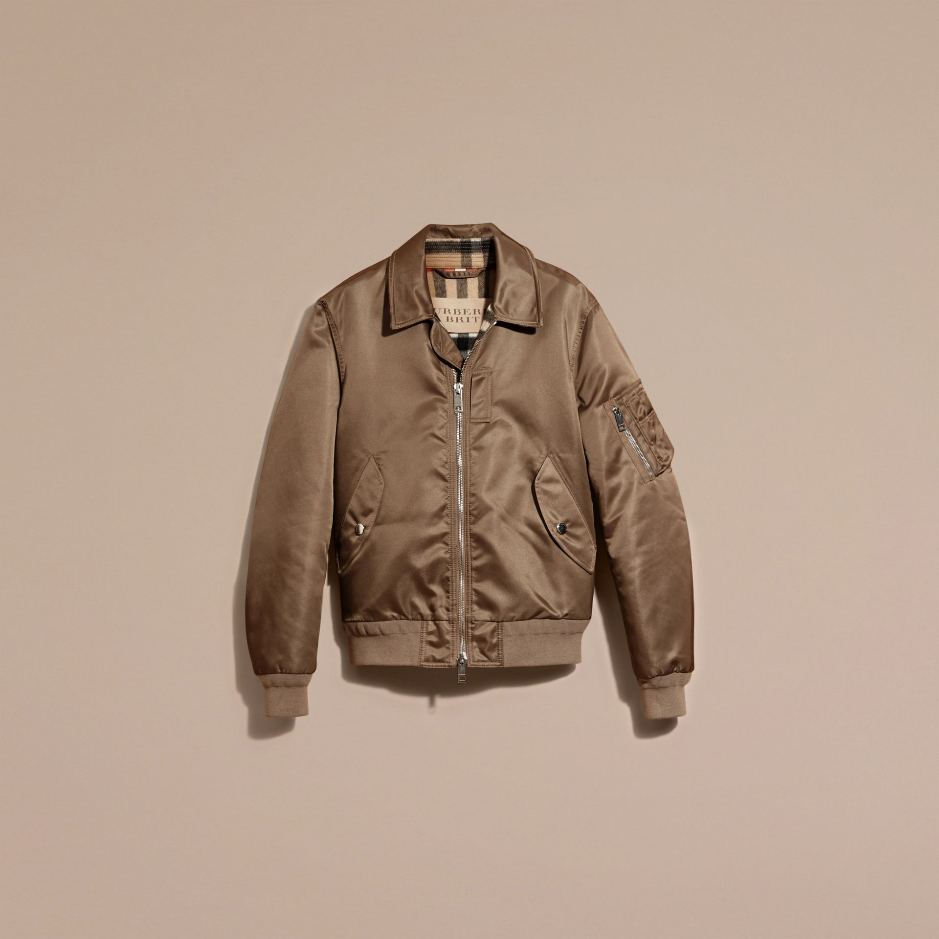 69830a45b Satin Bomber Jacket with Check Undercollar by Burberry