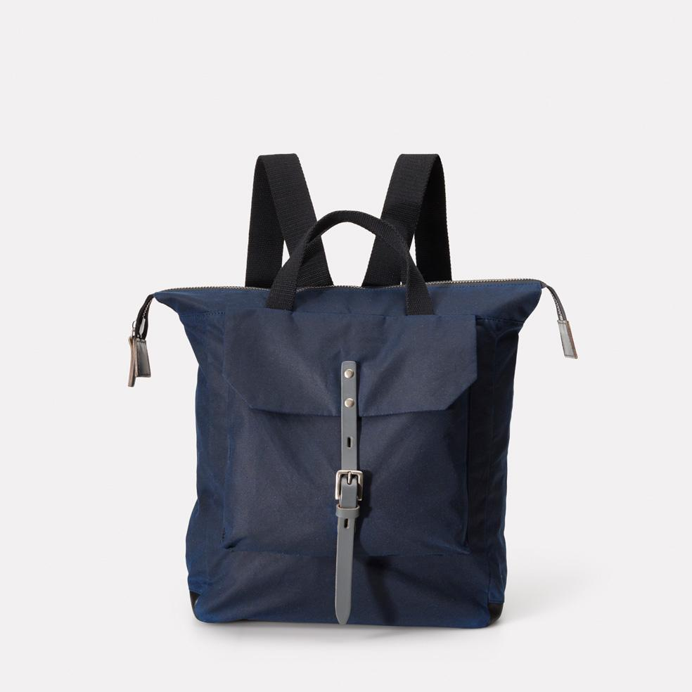 Ally Capellino Frances Waxed Cotton Rucksack in Navy & Grey