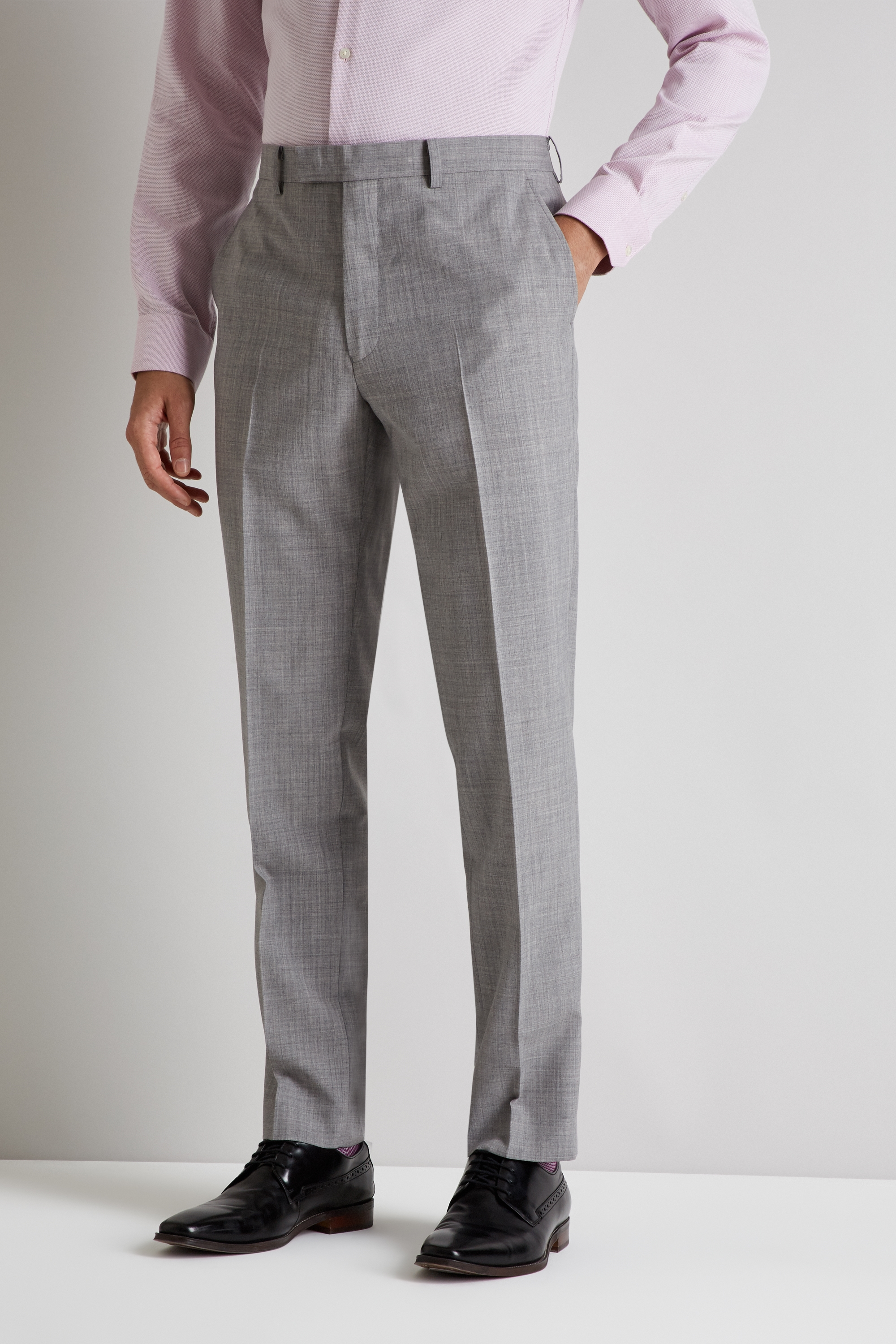 French Connection Slim Fit Light Grey Marl Trousers