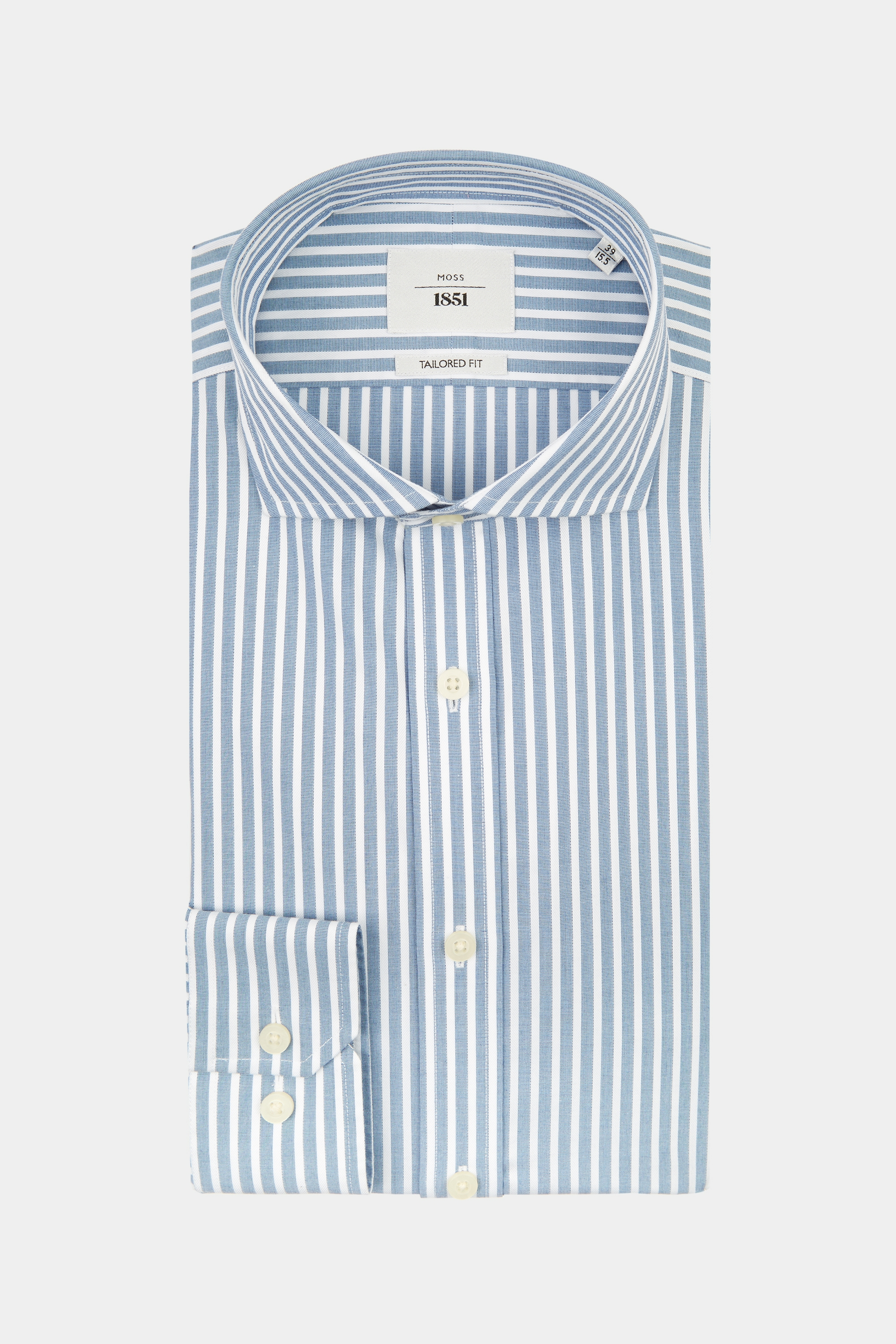 Moss Bros Moss 1851 Tailored Fit Blue Single Cuff Wide Stripe Zero Iron Shirt