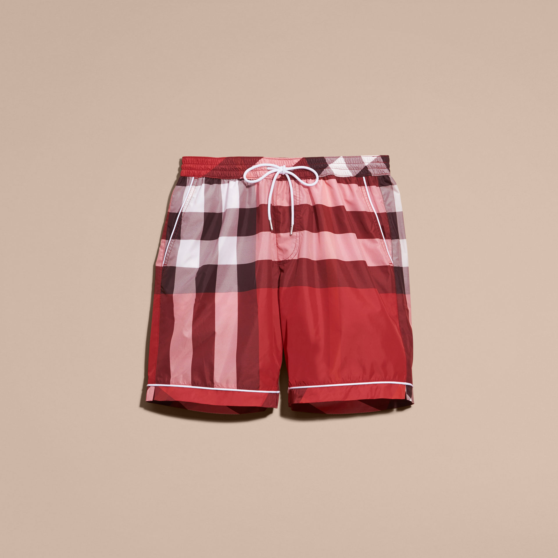 Burberry Parade Red Check Print Swim Shorts with Piping Detail
