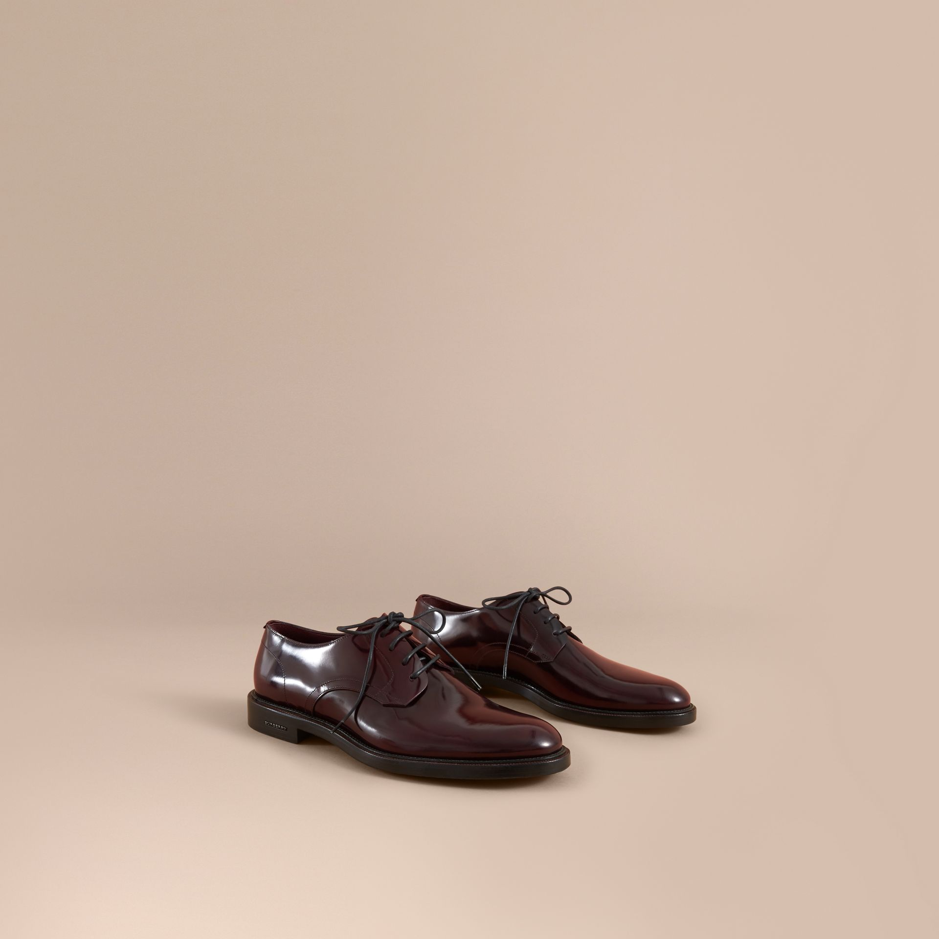 Burberry Rust Red Polished Leather Derby Shoes
