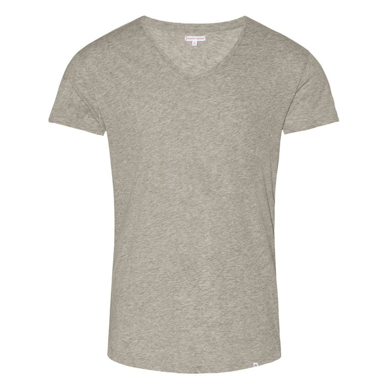 Orlebar Brown Mid Grey Melange OB-V Grey Melange Tailored Fit V-neck T-Shirt