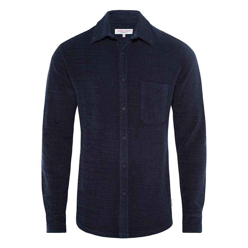 Orlebar Brown OLIVER TOWELLING Navy Tailored-Fit Button-Down Shirt