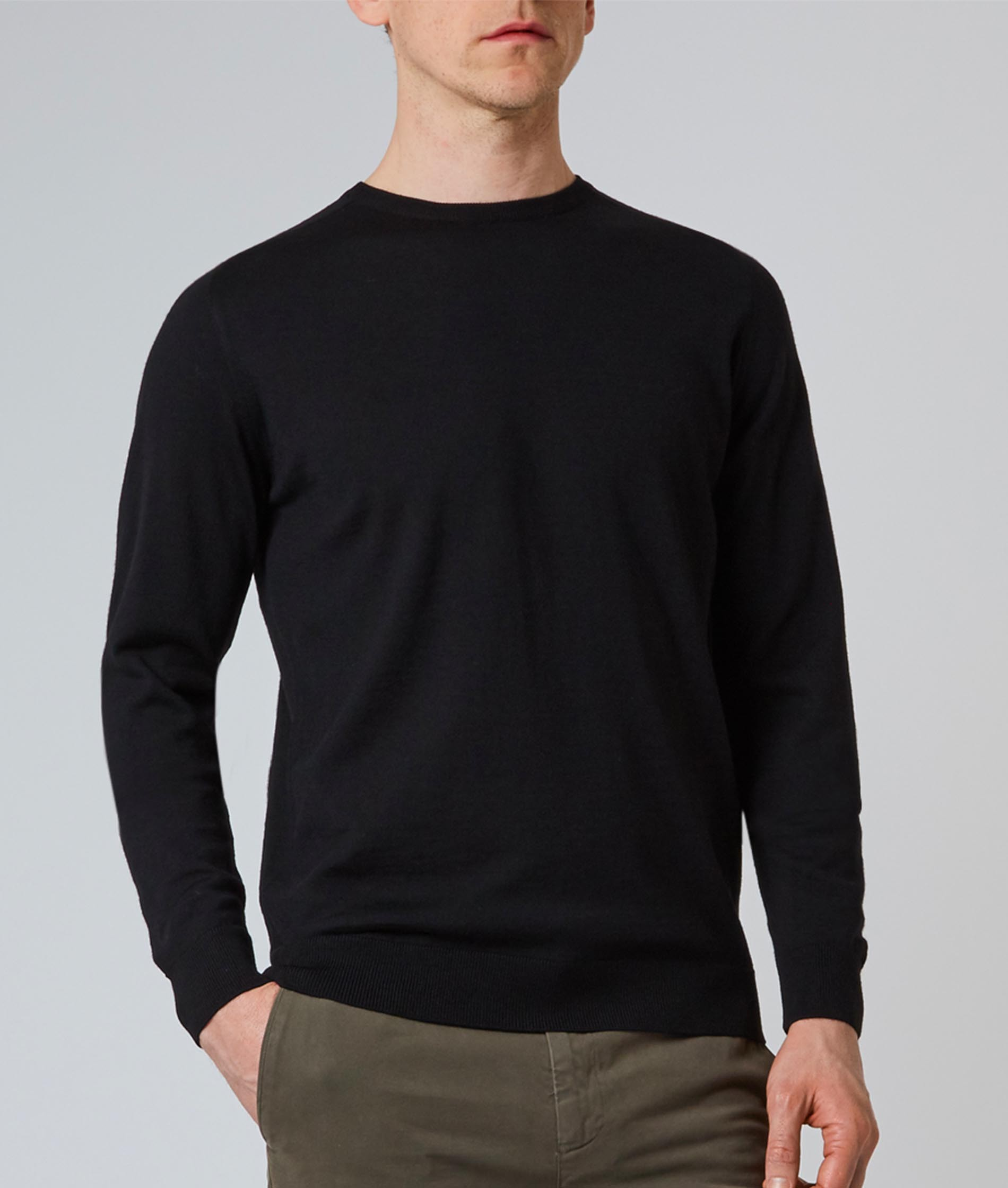 Nigel Hall Black Extra Fine Knit Merino Wool Crew Neck Jumper (Glenn)