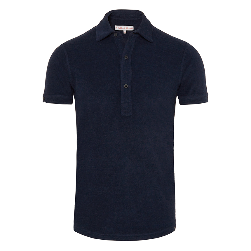 Orlebar Brown SEBASTIAN Navy Tailored Fit Towelling Polo