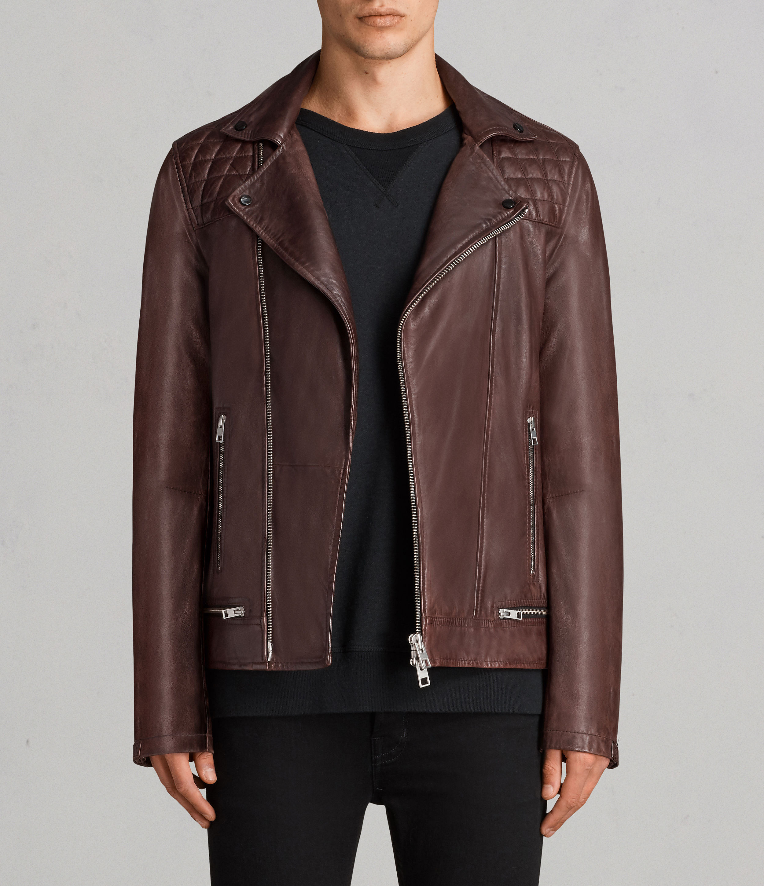AllSaints Oxblood Red Conroy Leather Biker Jacket