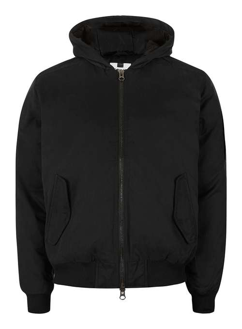 Topman Black hooded bomber jacket