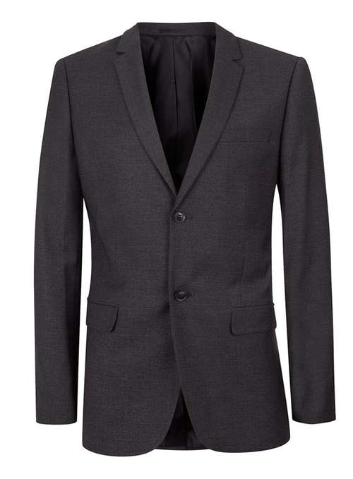 Topman Grey Charcoal check skinny fit suit jacket