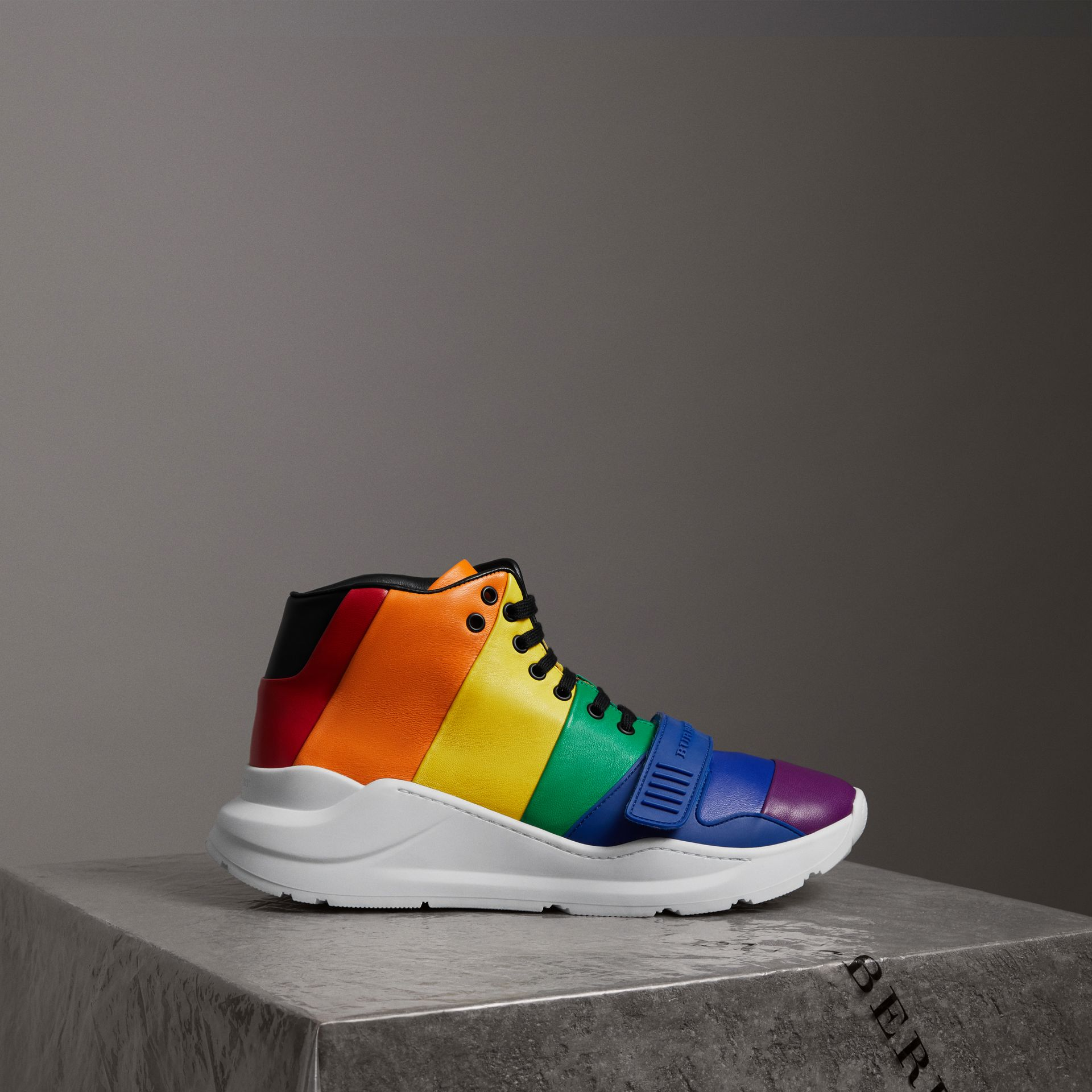 Rainbow Leather High-top Sneakers by