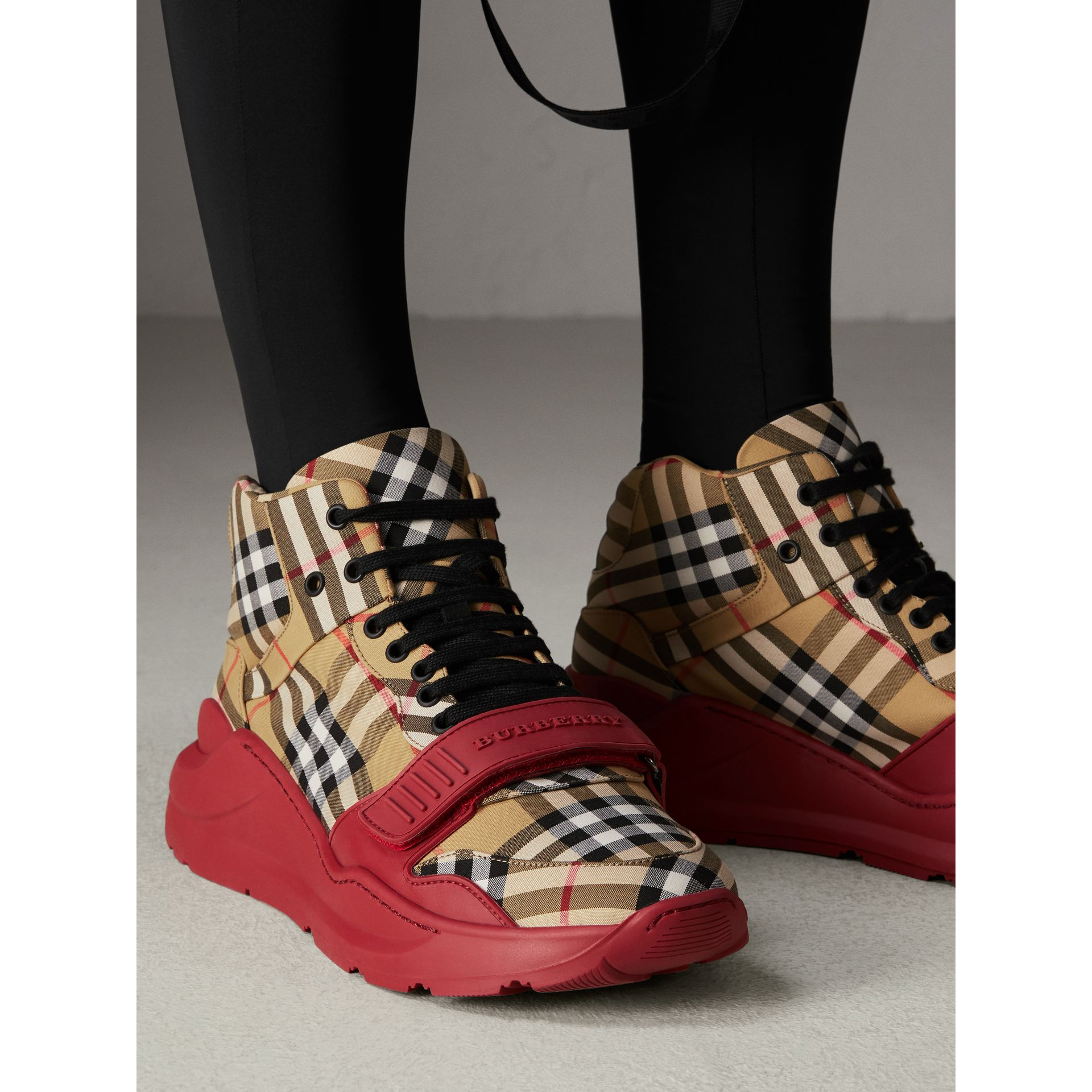 burberry vintage check high top sneaker