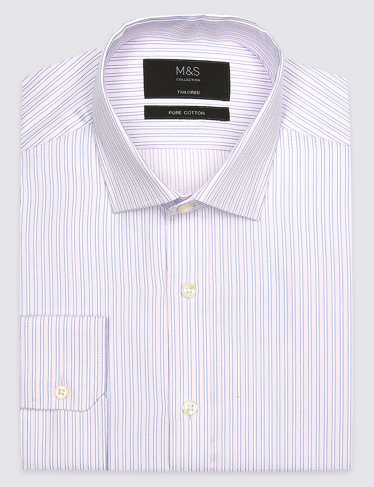 Marks & Spencer Pink Mix Pure Cotton Tailored Fit Shirt