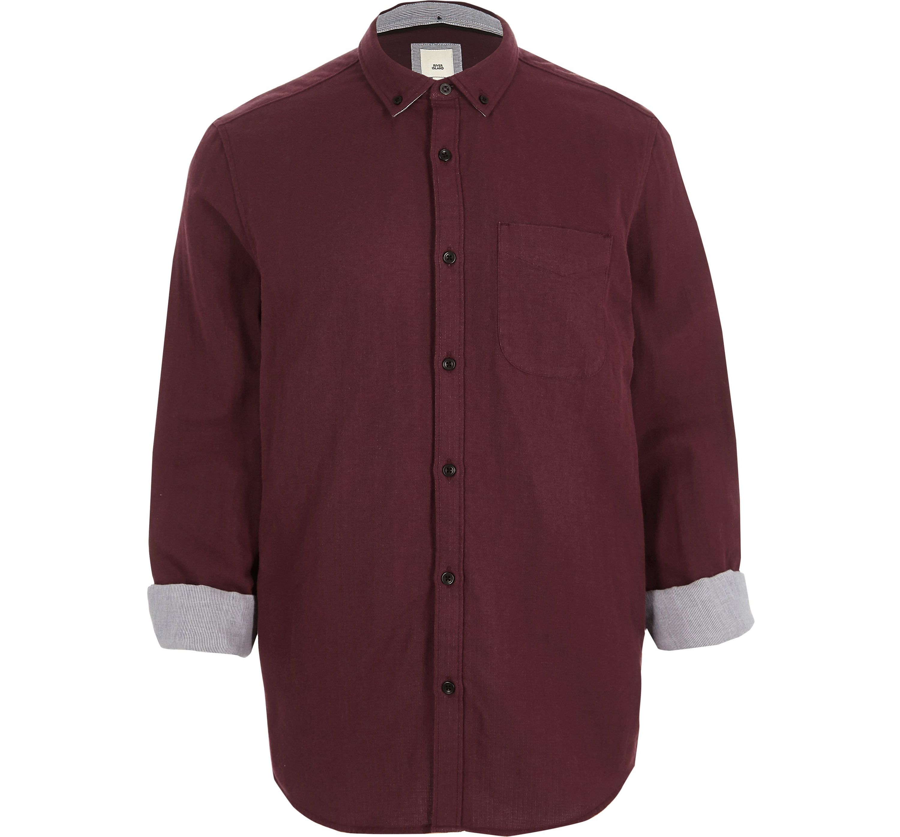 River Island Red Mens Burgundy slim fit double face shirt