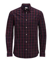 Long Sleeve Gingham Shirt in Red and Navy